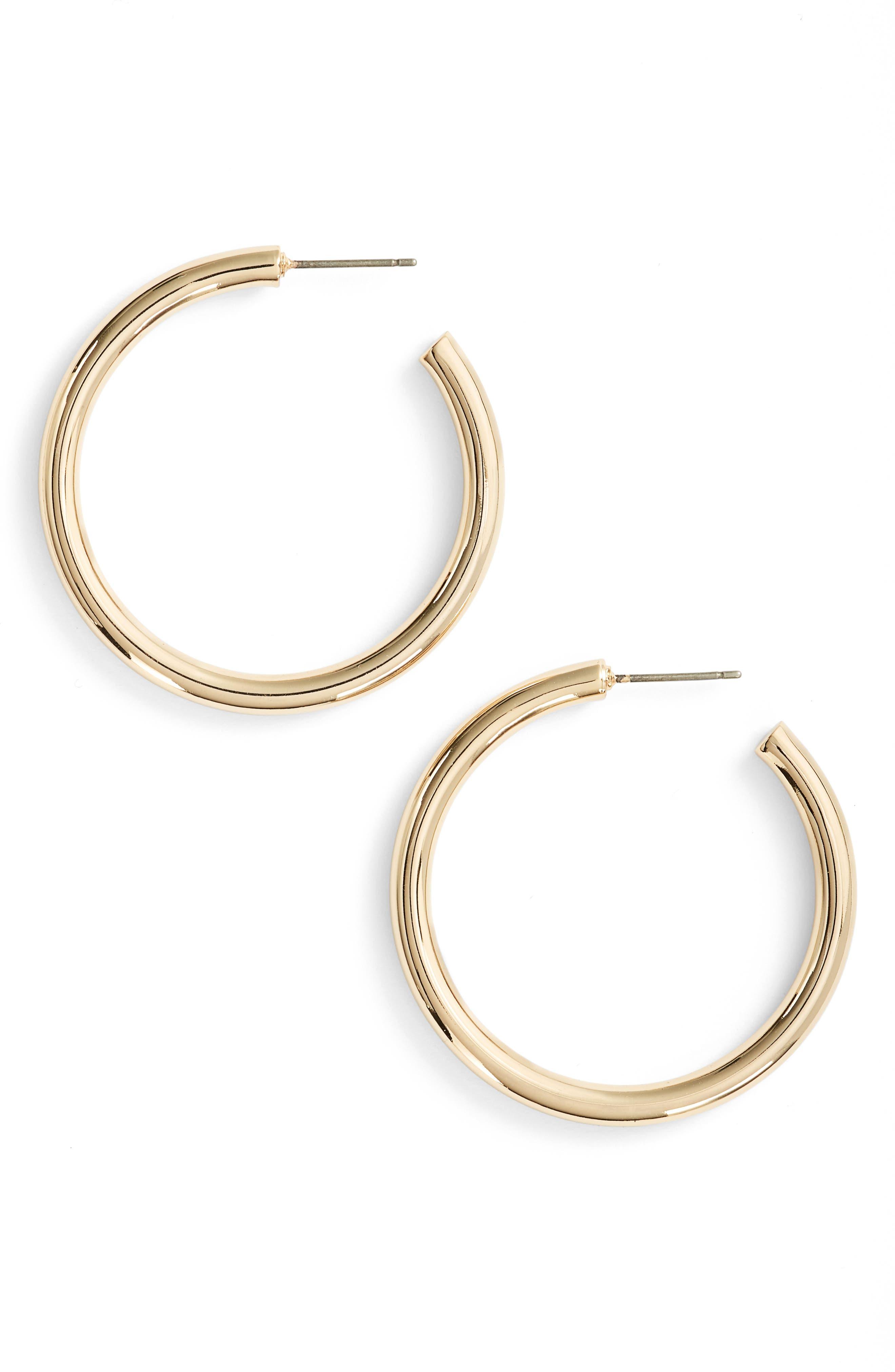 Halogen® Medium Sleek Tube Hoop Earrings