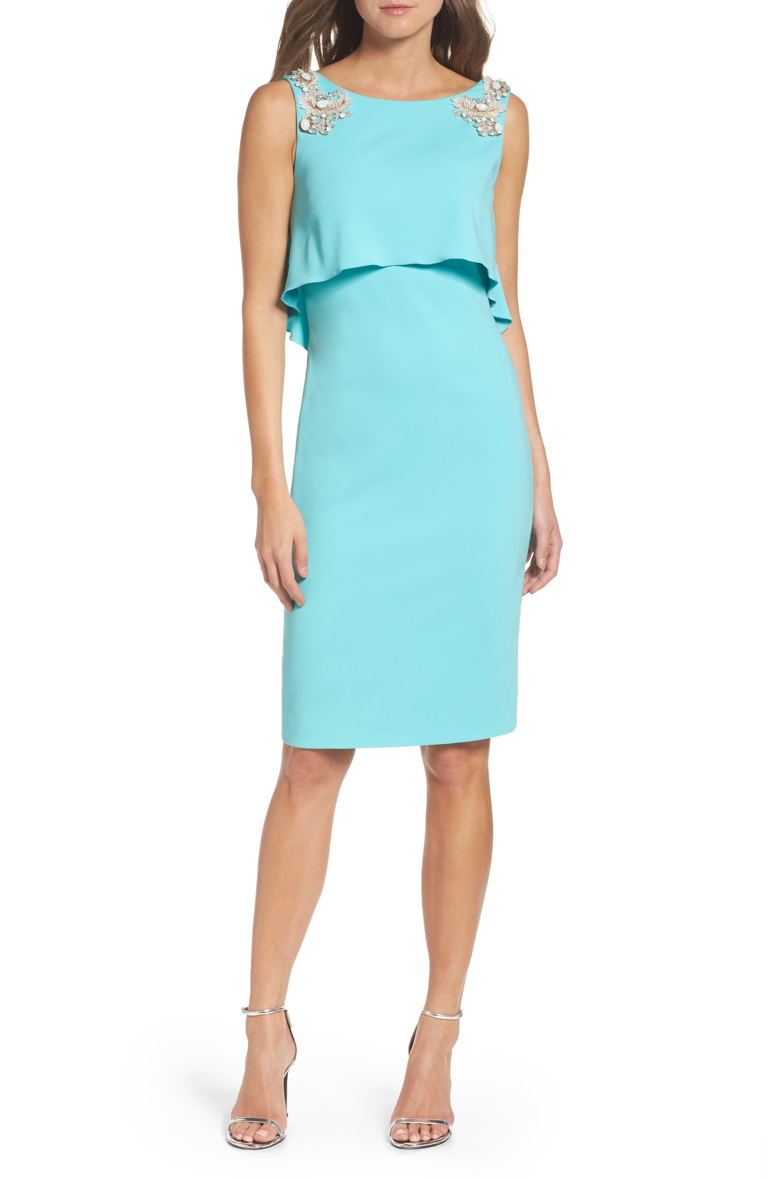 Badgley Mischka Embellished Jersey Popover Dress