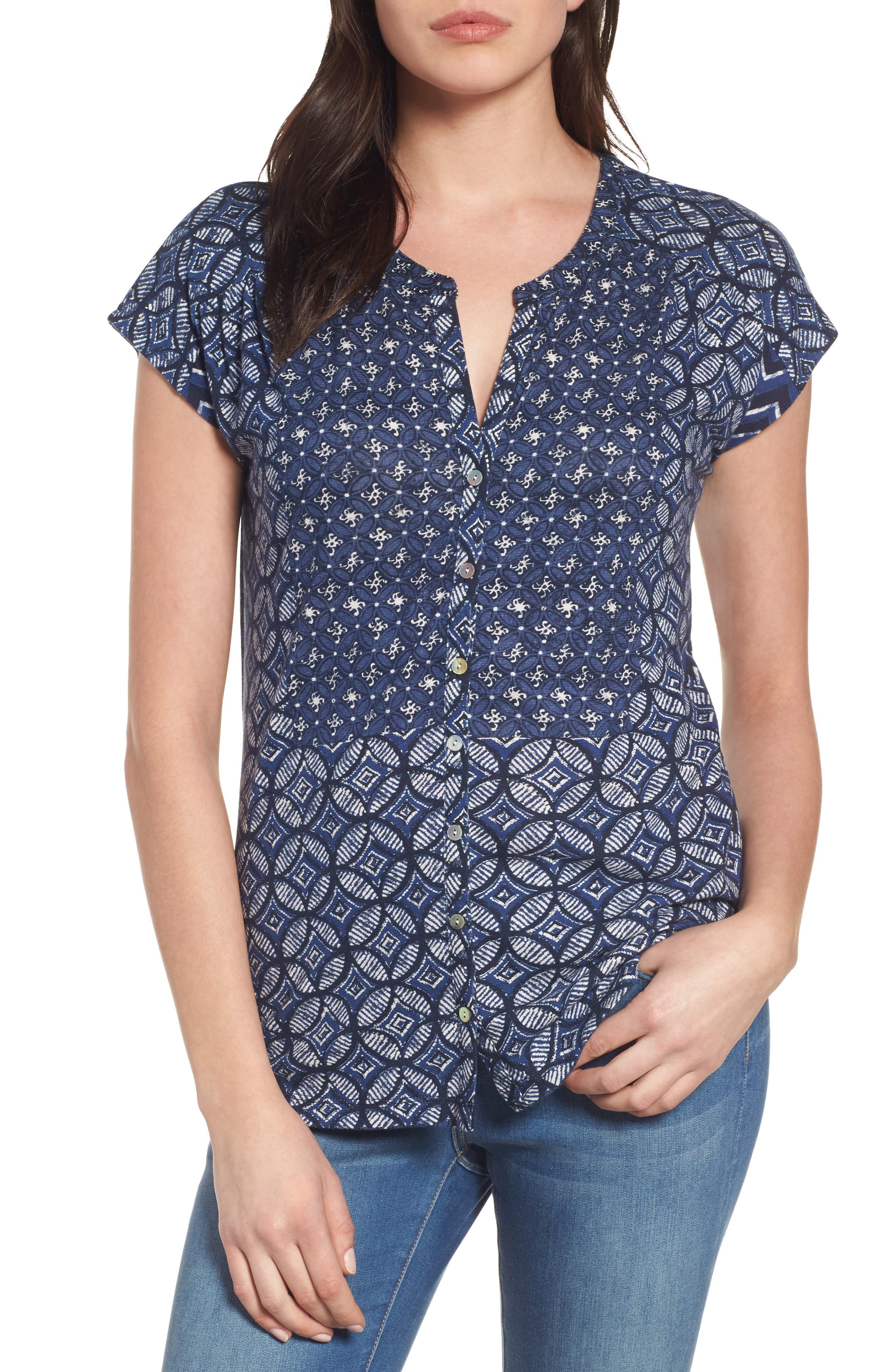 Lucky Brand Decanta Border Print Top