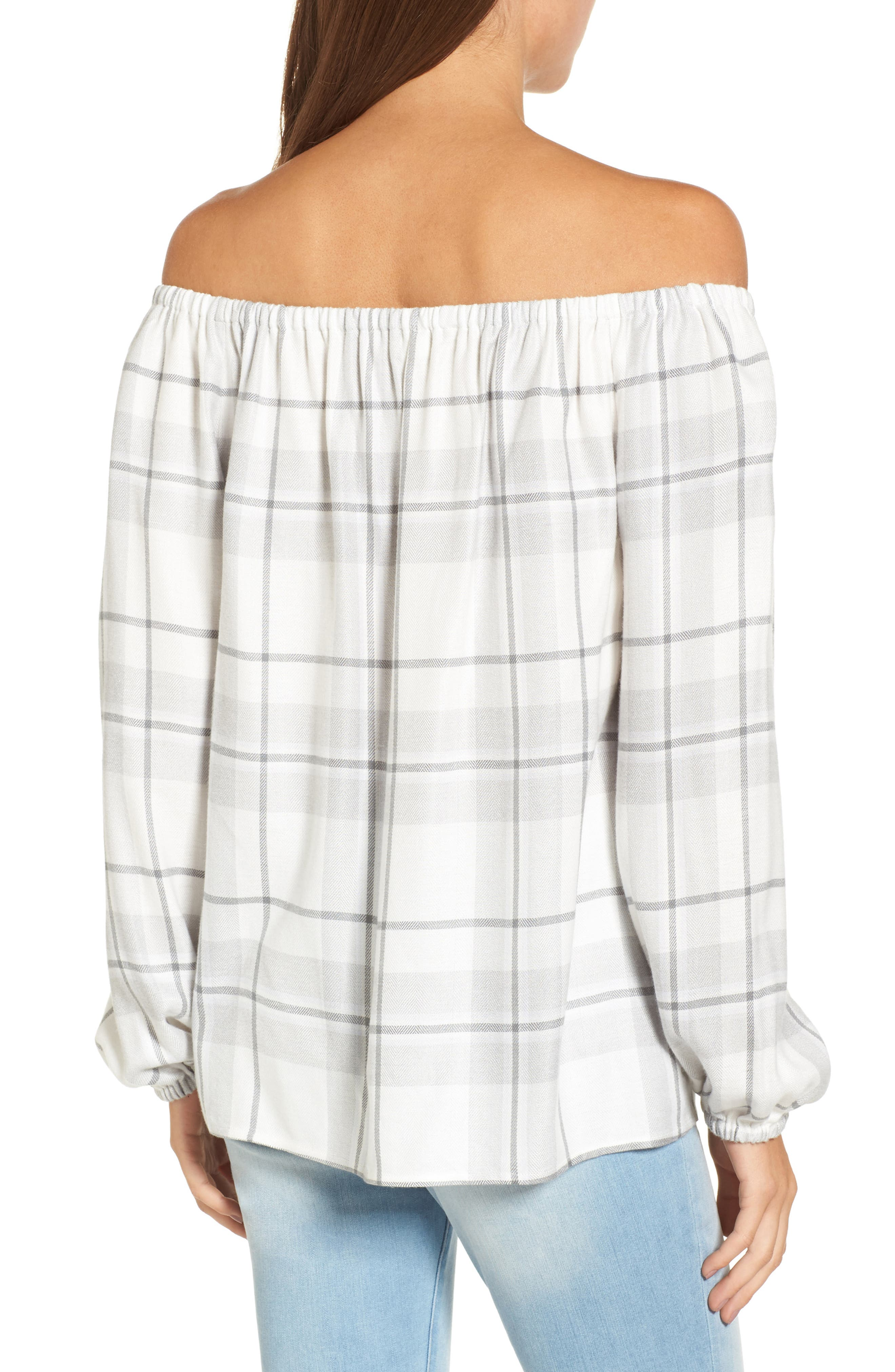 Alternate Image 2  - Two by Vince Camuto Off the Shoulder Plaid Blouse (Regular & Petite)