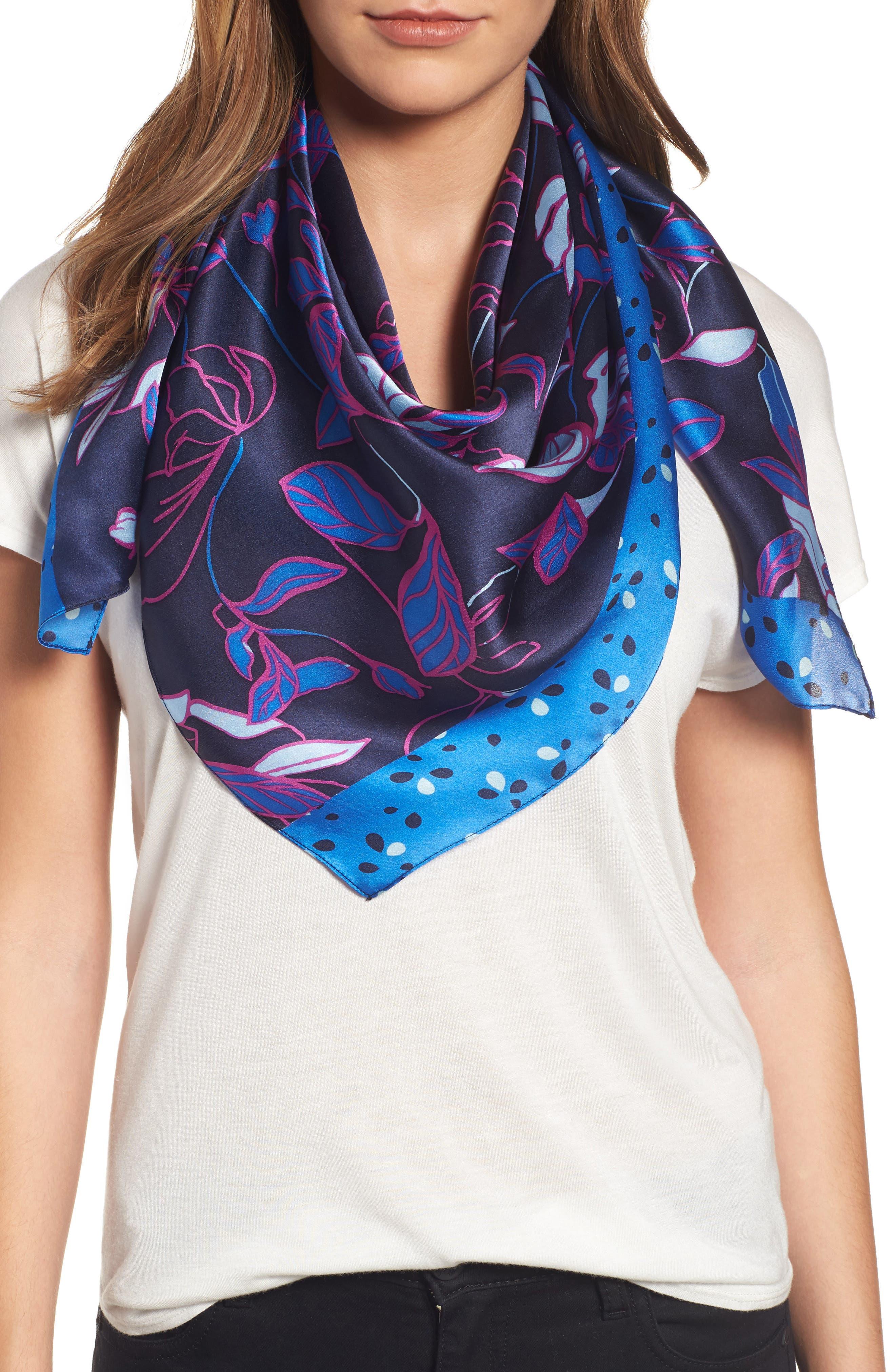 Halogen® Dot Line Floral Silk Scarf