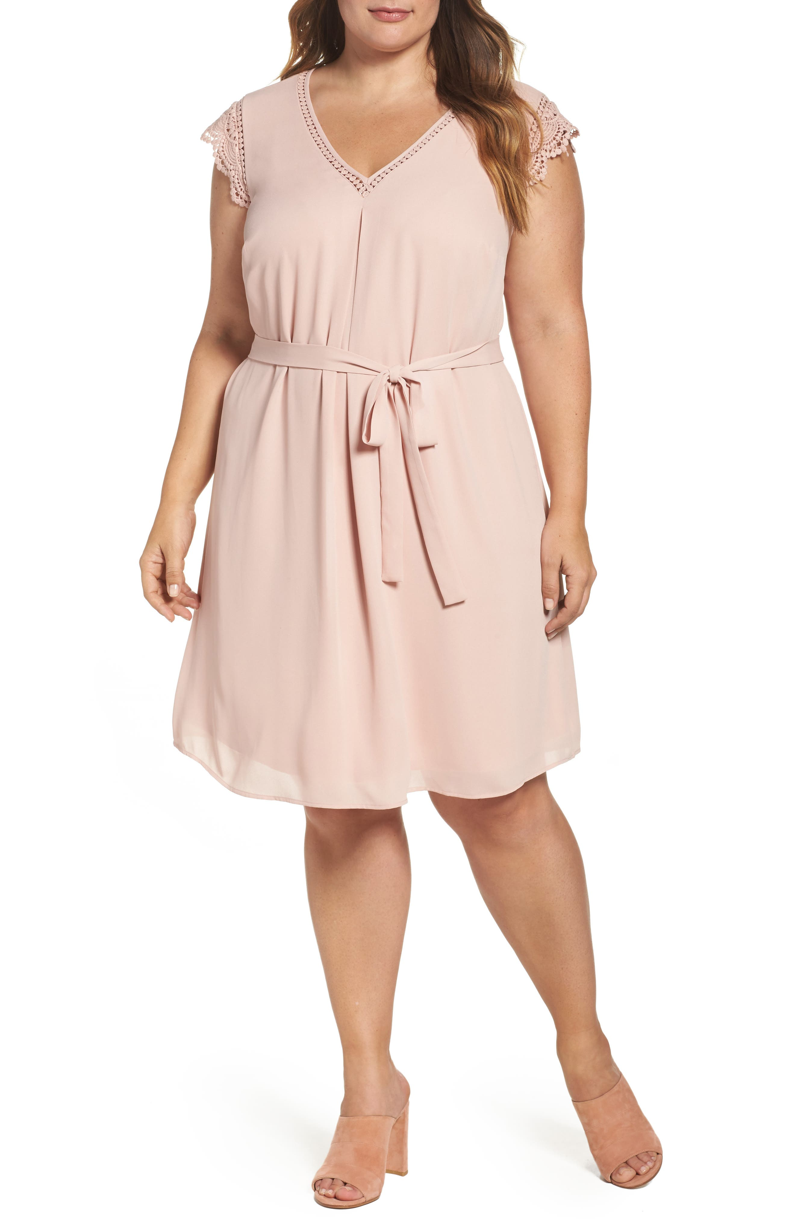 Daniel Rainn Lace Trim A-Line Dress (Plus Size)