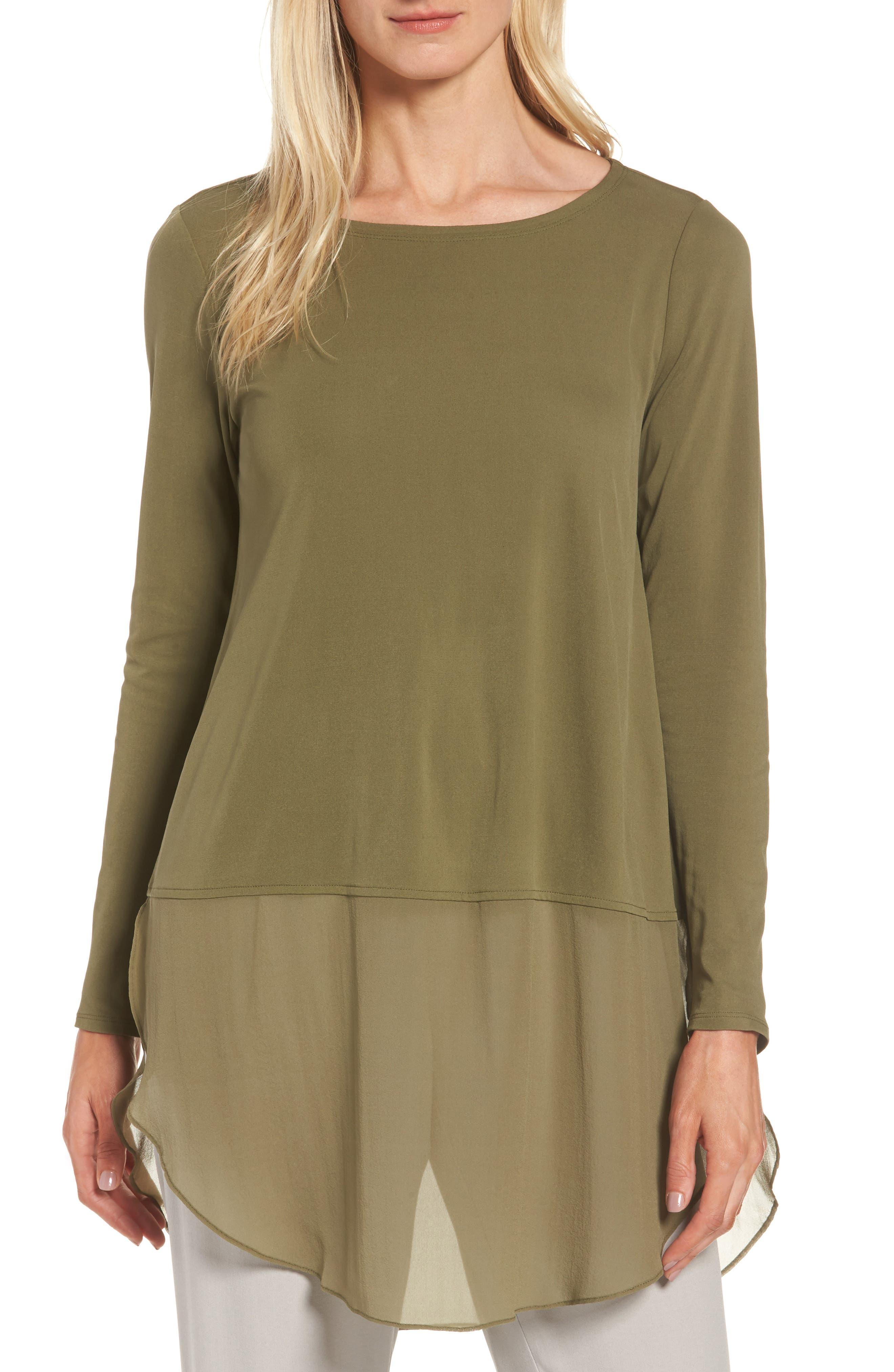 Eileen Fisher Silk Layer Look Tunic (Regular & Petite)