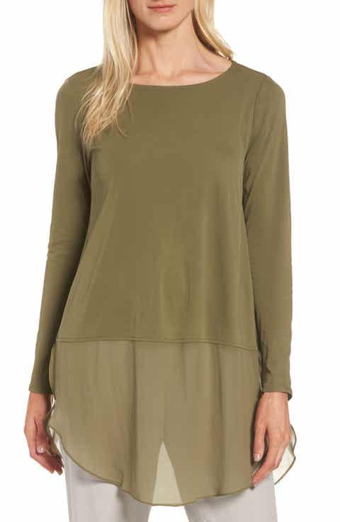 Eileen Fisher Silk Layer Look Tunic (Regular   Petite)