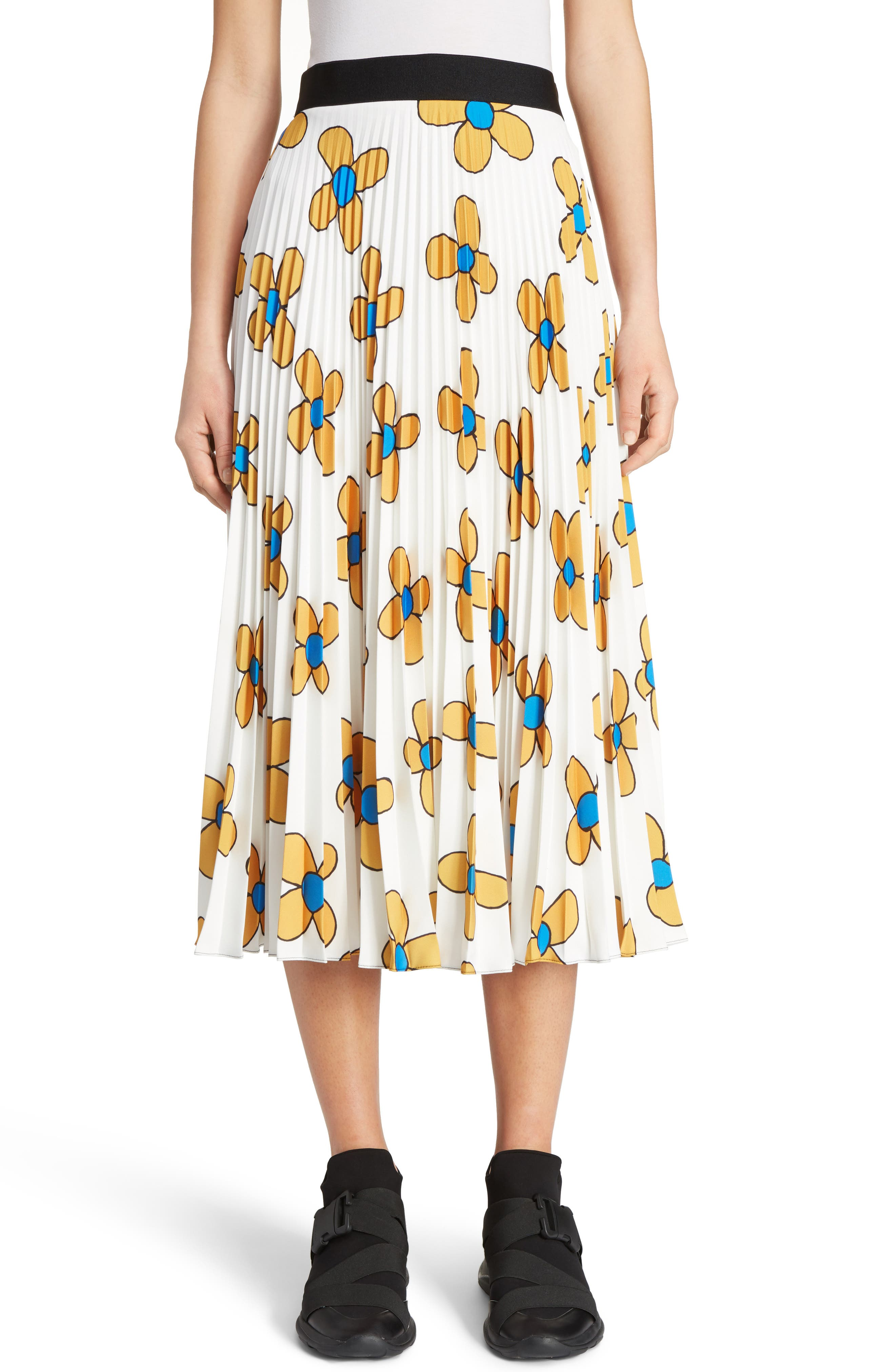 Christopher Kane Flower Print Midi Skirt