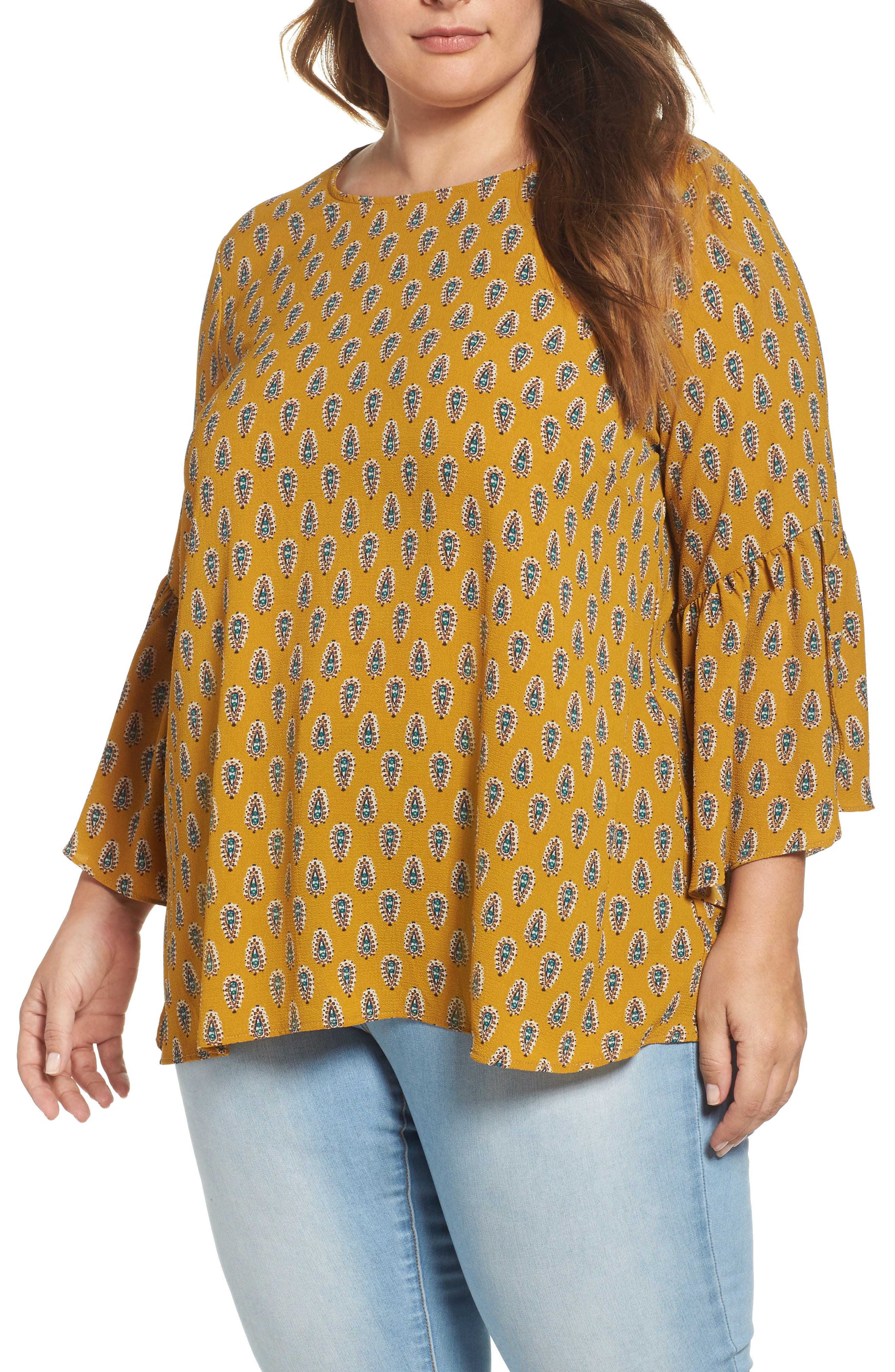 Bobeau Split Ruffle Sleeve Top (Plus Size)