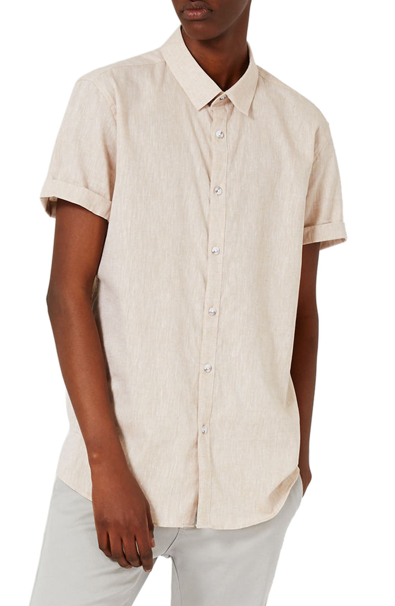 Topman Crosshatch Cotton & Linen Shirt