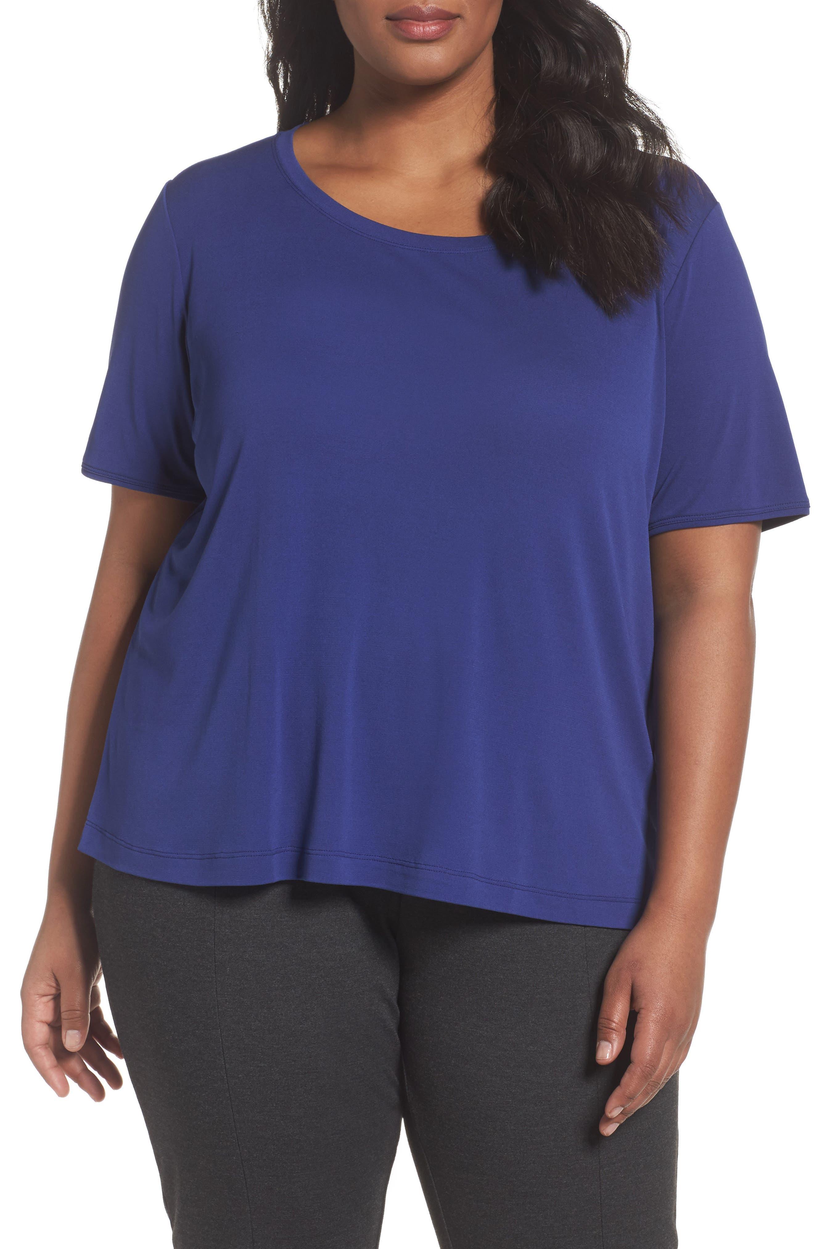 Eileen Fisher Silk Jersey Tee (Plus Size)