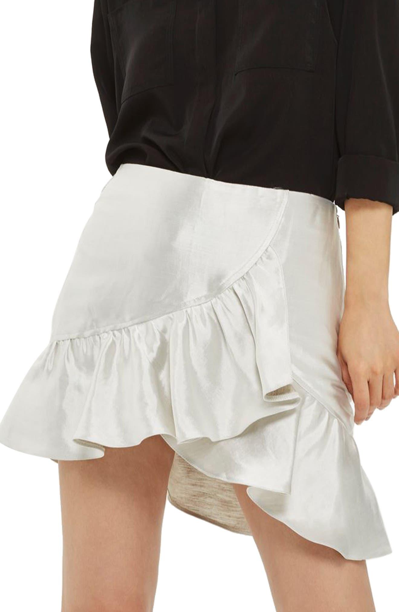 Topshop Metallic Ruffle Miniskirt (Petite)