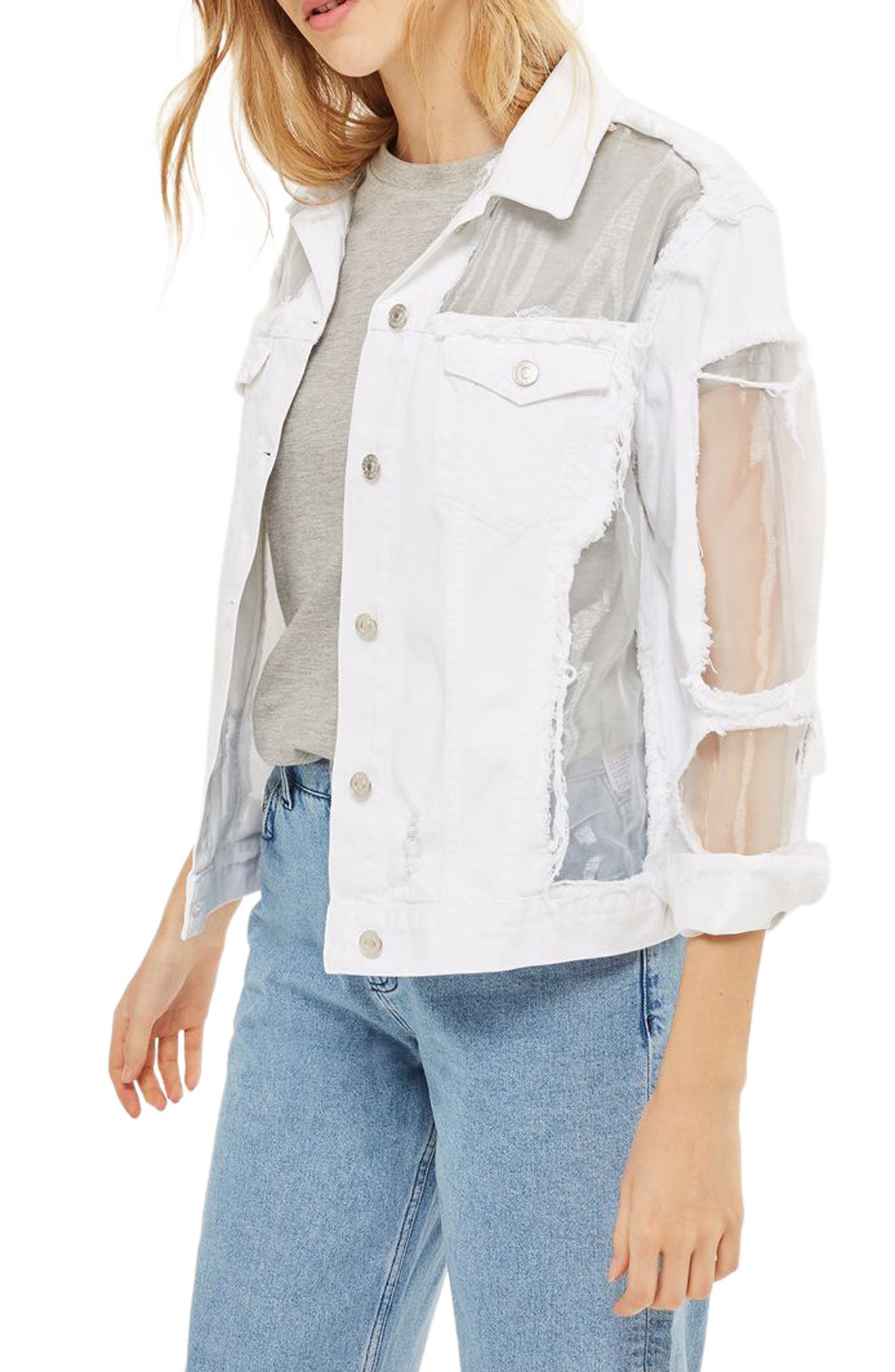 Topshop Organza Ripped Denim Jacket