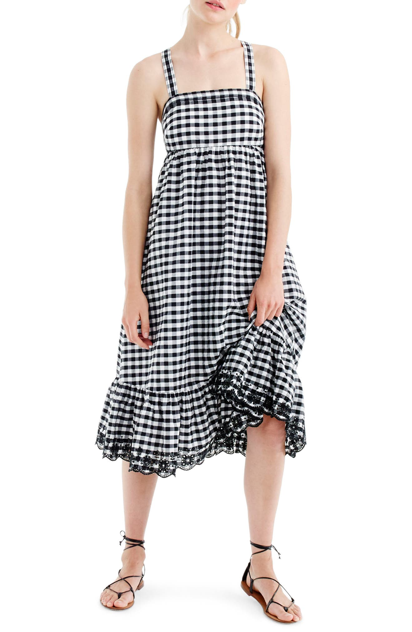 J.Crew Eyelet Trim Puckered Gingham Sundress