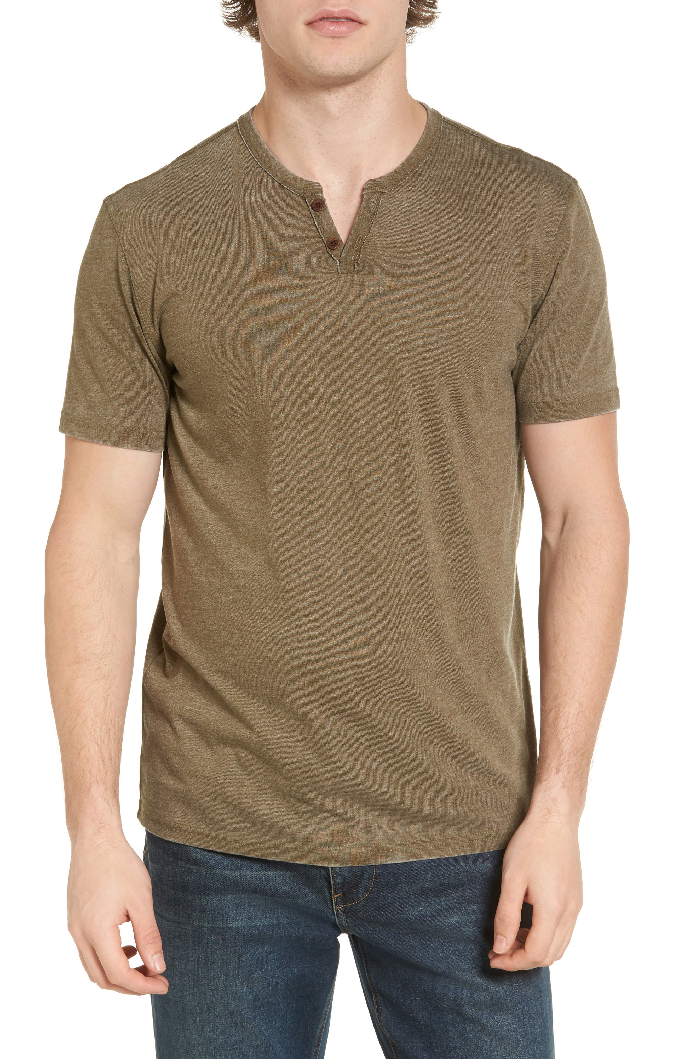 Lucky Brand Burnout Notch Neck T-Shirt