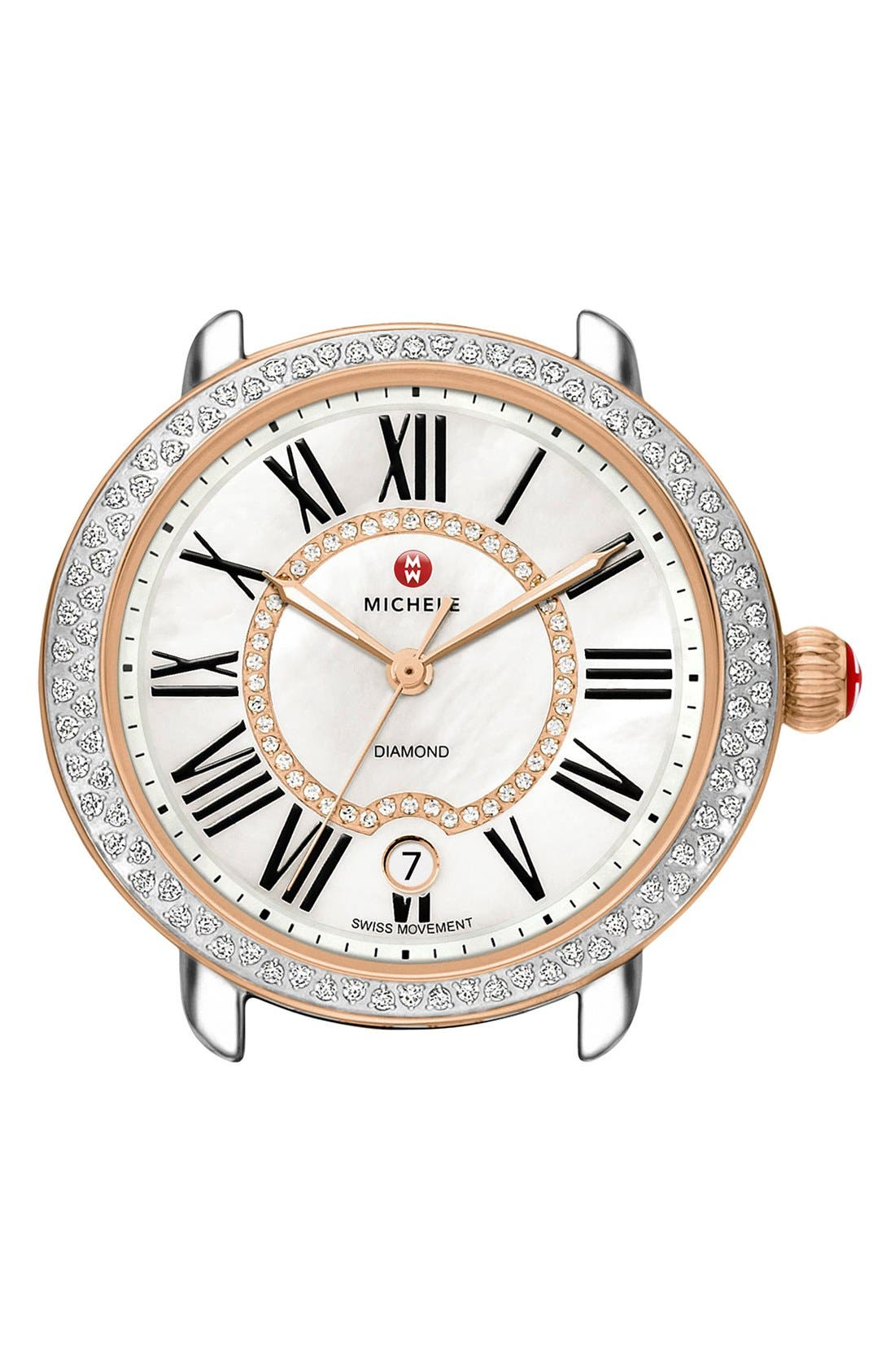 MICHELE Serein 16 Diamond Rose Gold Plated Watch Case, 34mm x 36mm