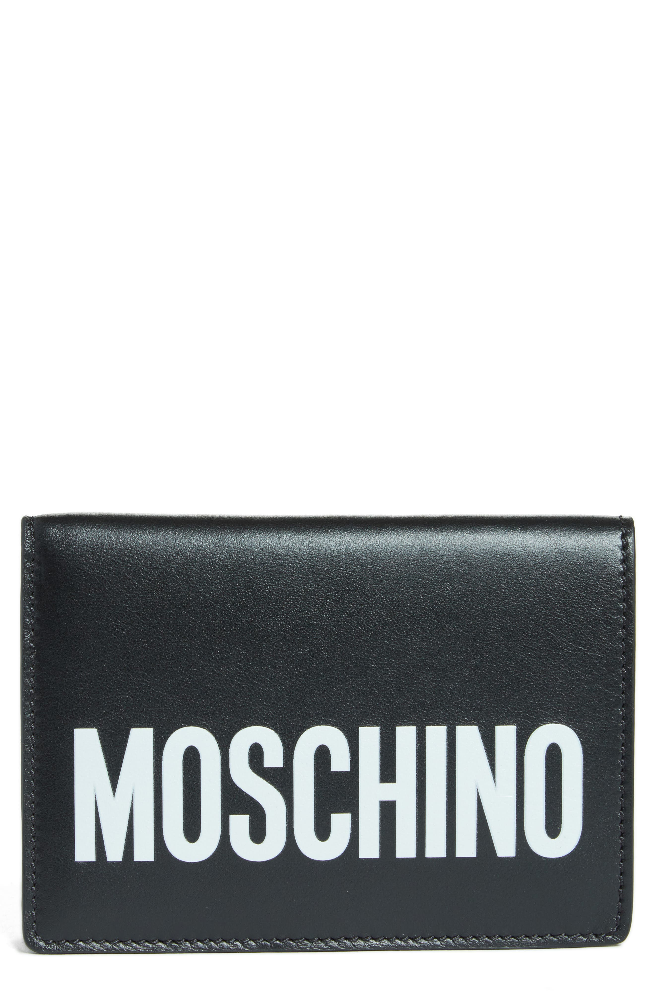 Moschino Logo Leather Passport Holder