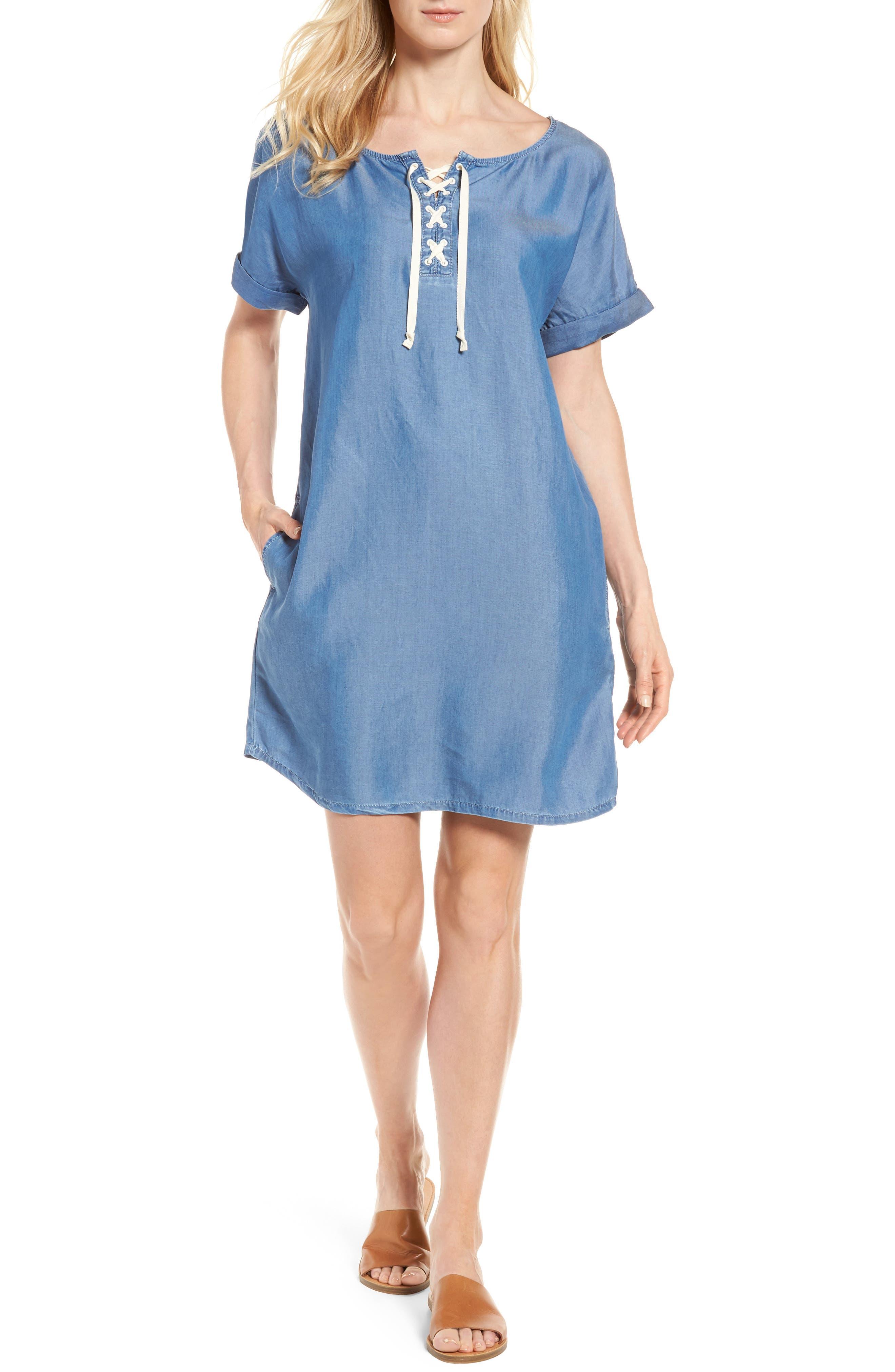 Alternate Image 1 Selected - Caslon® Lace-Up Shift Dress (Regular & Petite)