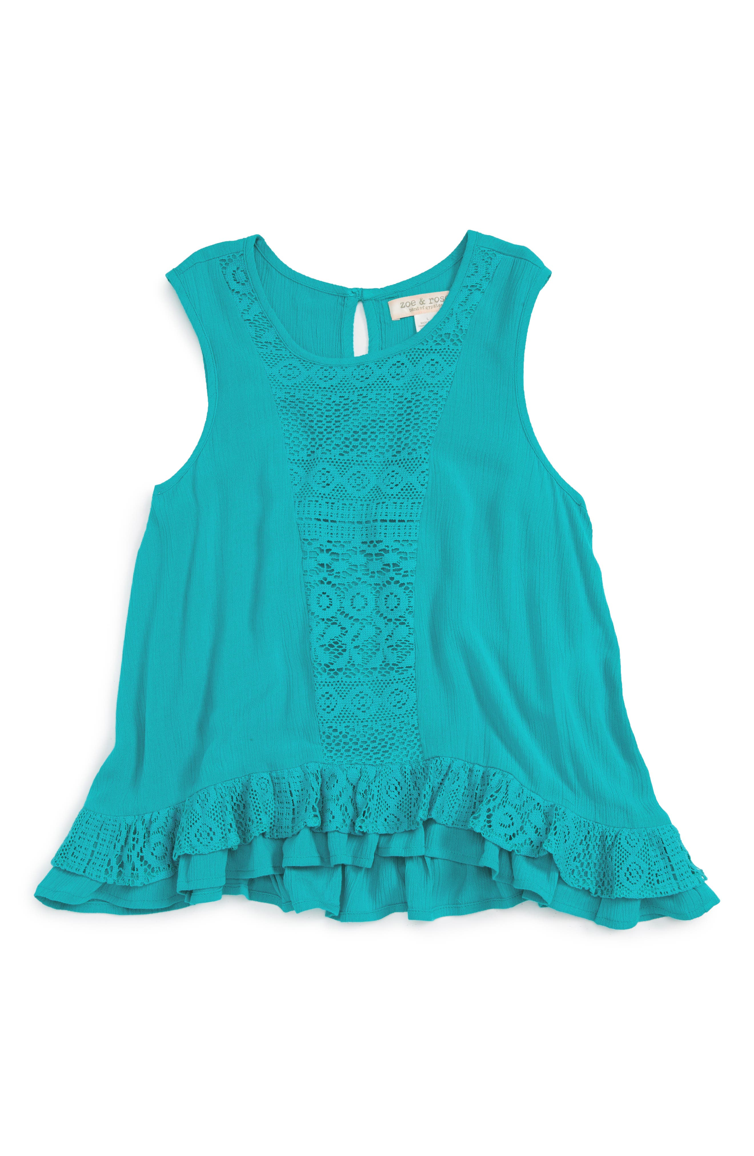 Zoe and Rose Lace Trim Sleeveless Top (Big Girls)
