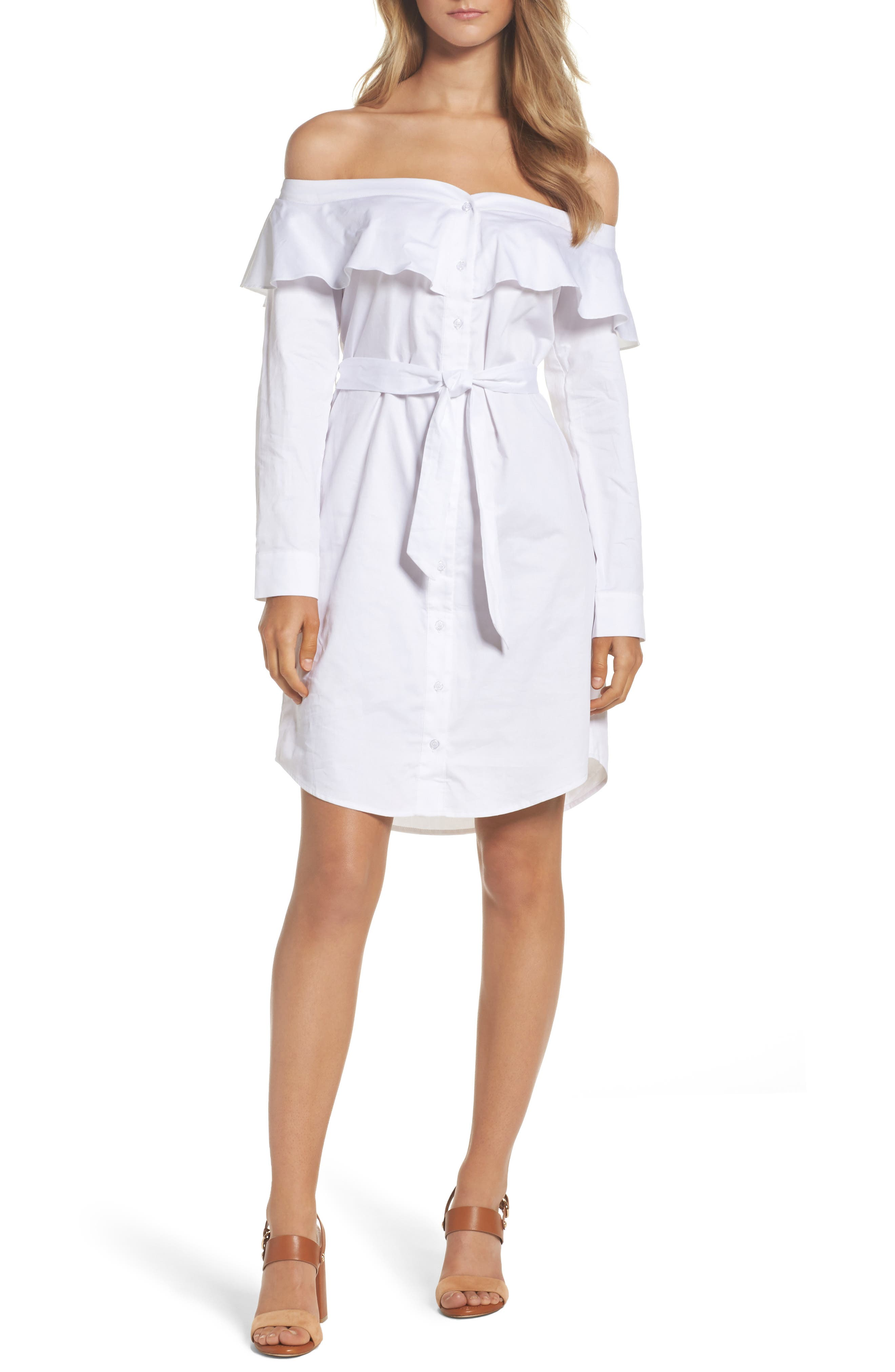 Bardot Natalia Frill Off the Shoulder Shirtdress