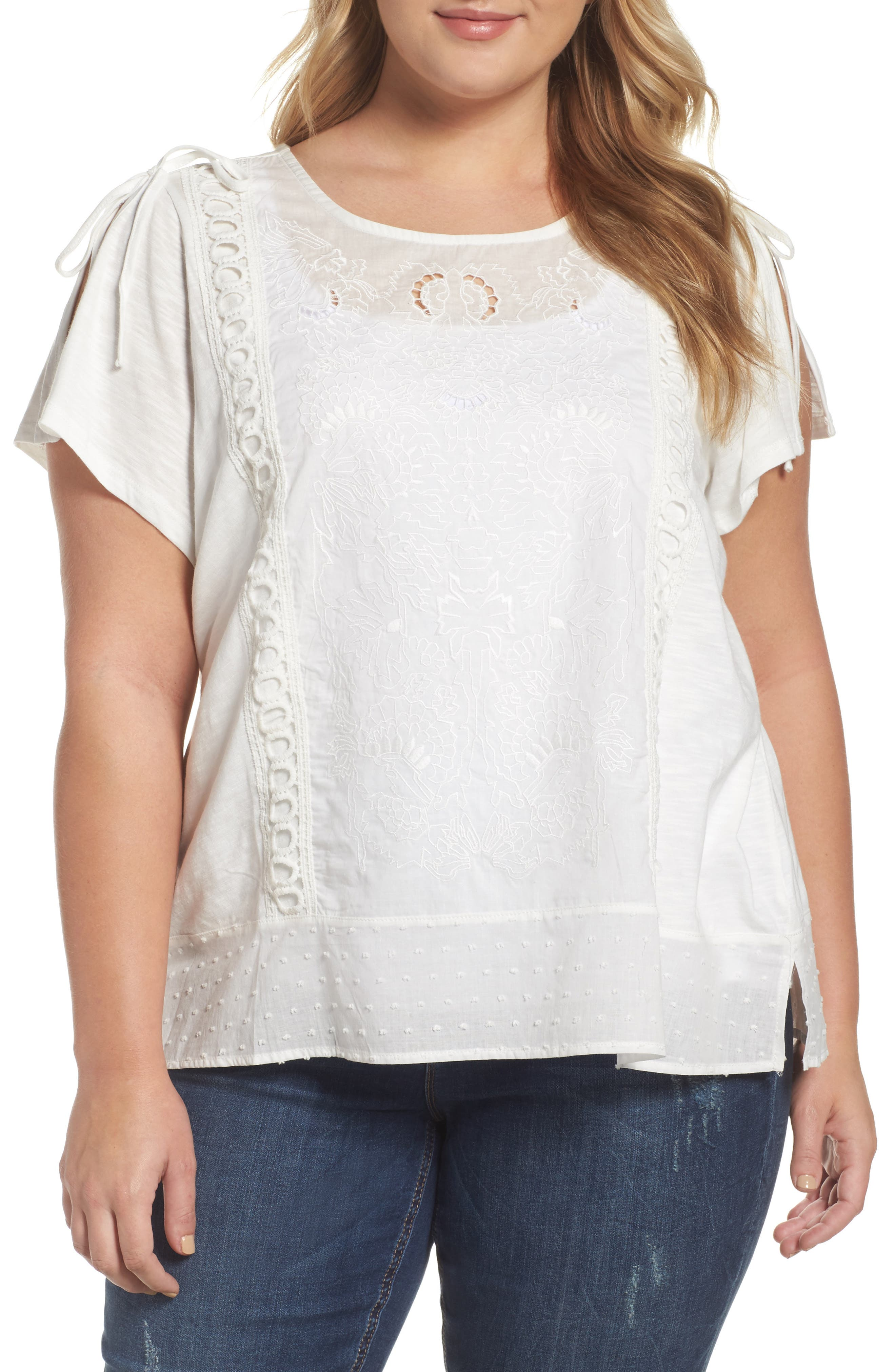 Democracy Split Sleeve Eyelet Front Top (Plus Size)