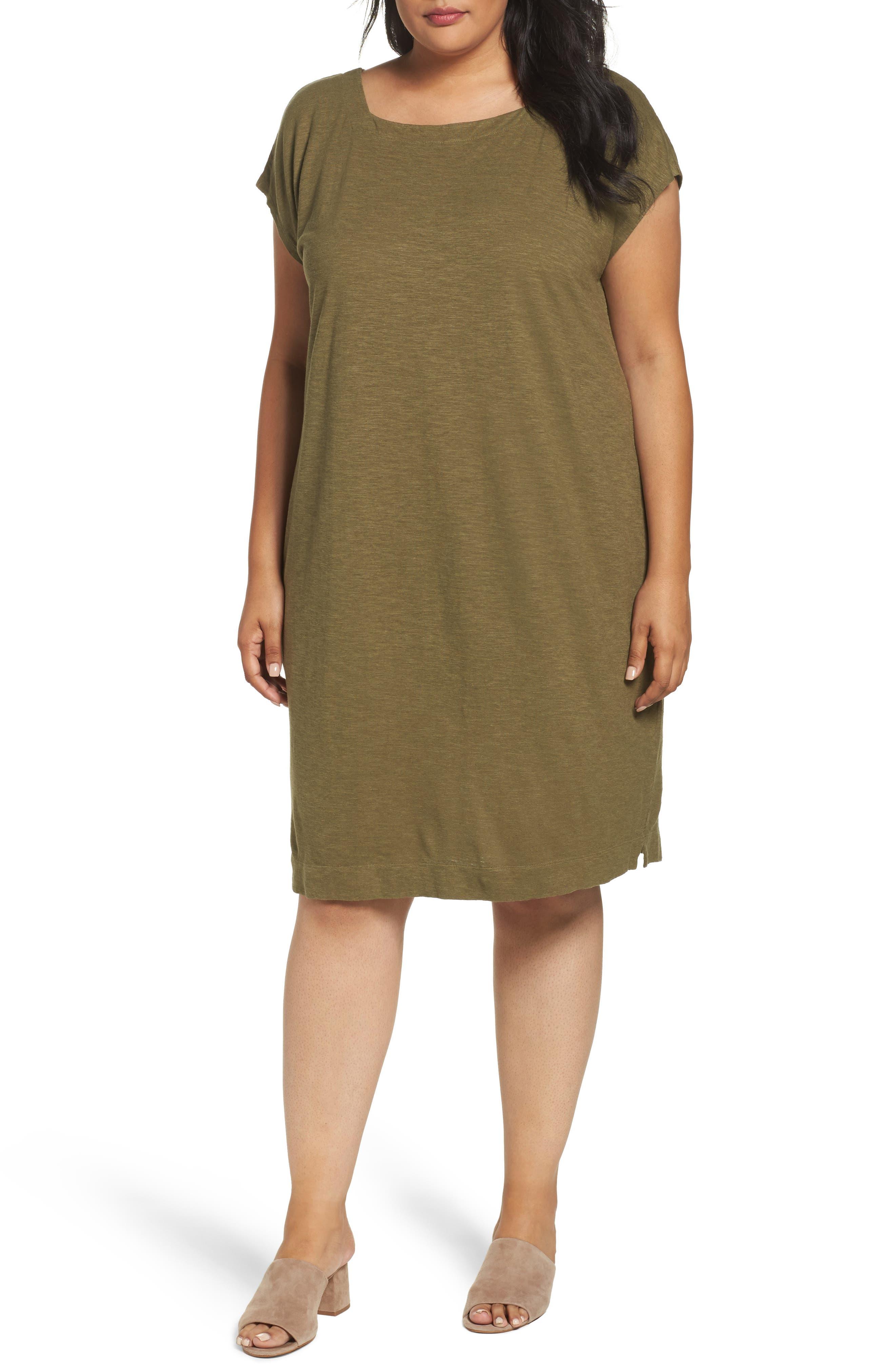 Eileen Fisher Hemp & Organic Square Neck Shift Dress (Plus Size)