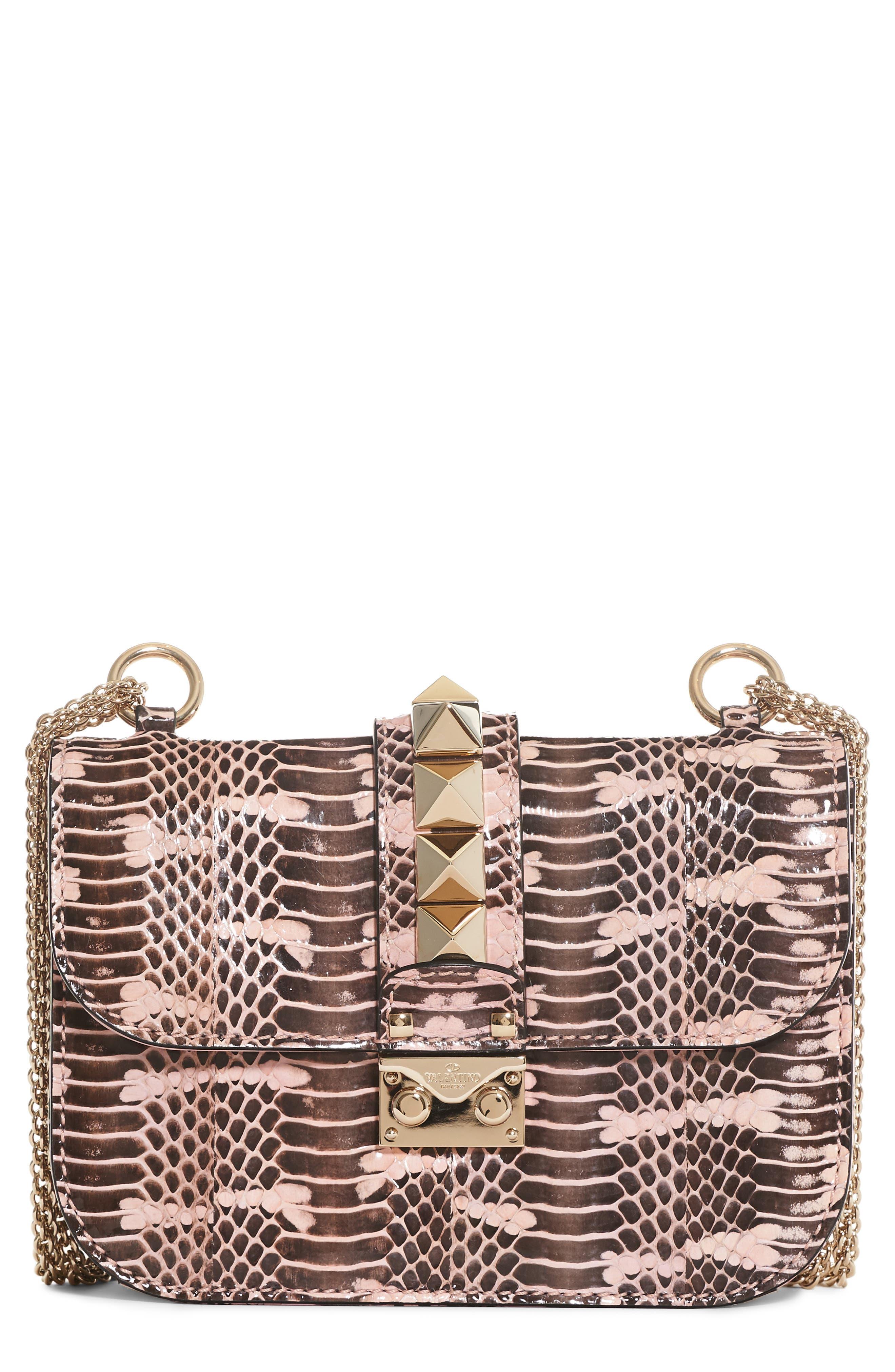 Valentino Small Rockstud - Lock Genuine Snakeskin Crossbody Bag