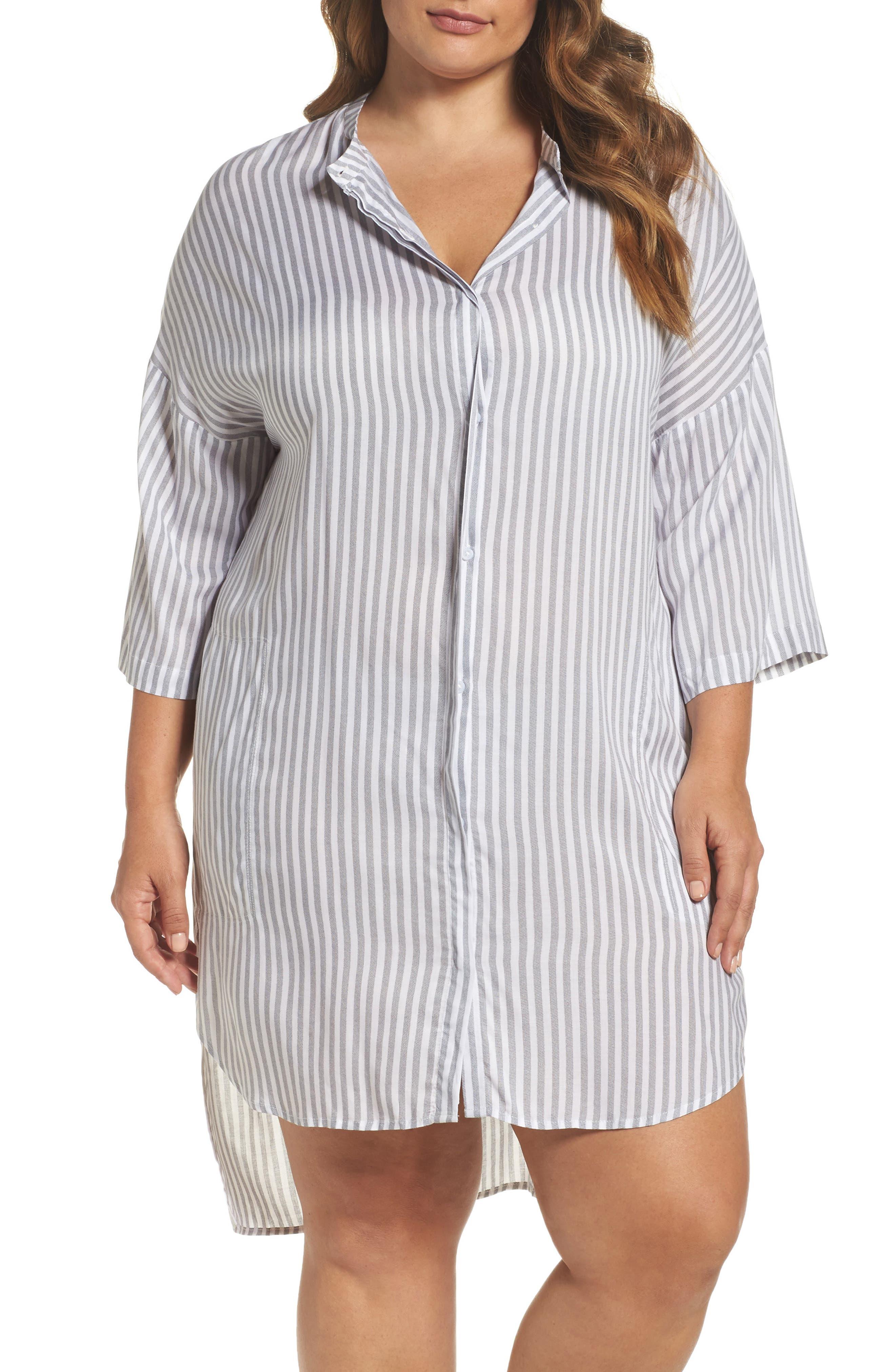 DKNY Collarless Nightshirt (Plus Size)