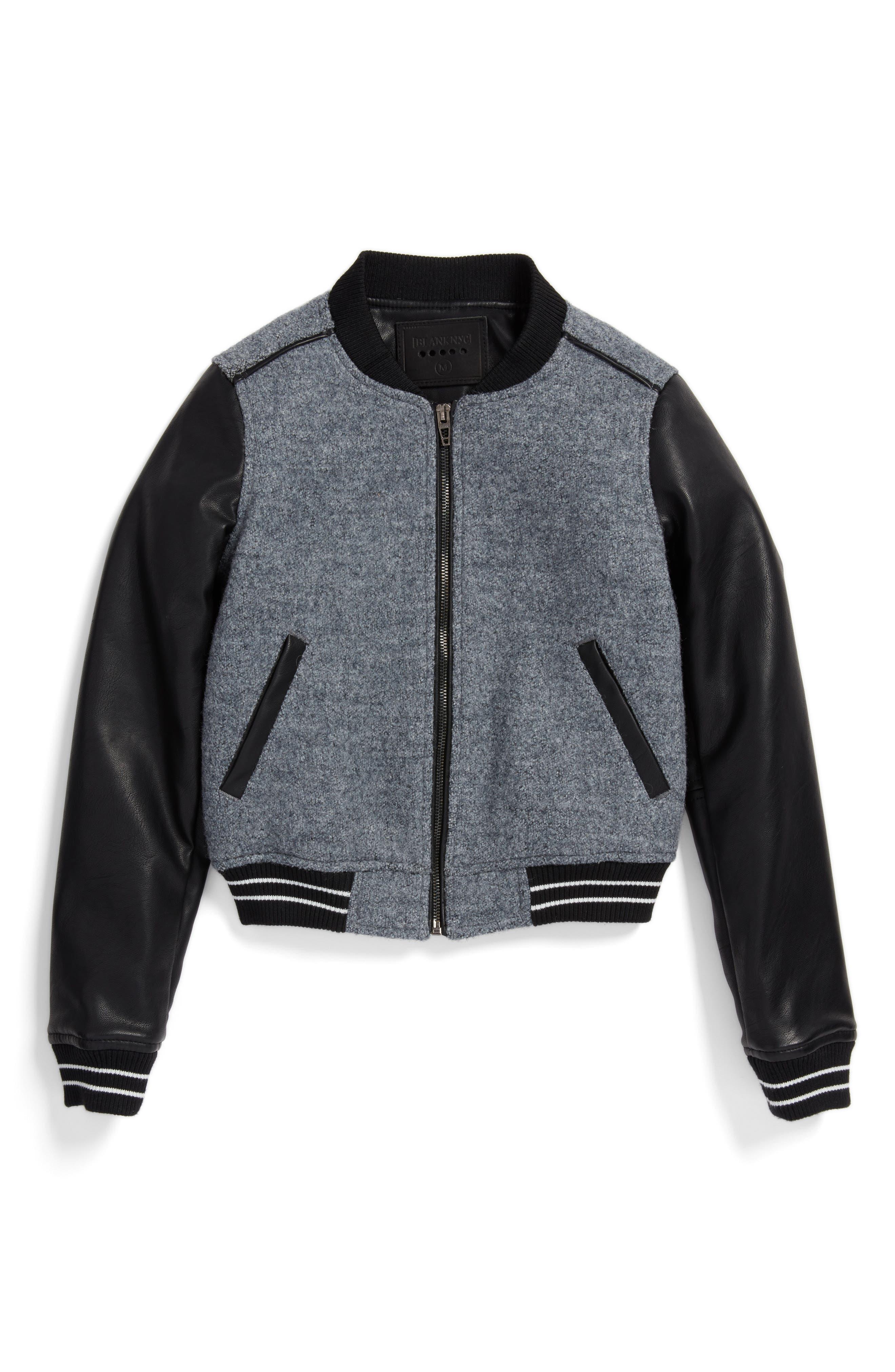 Main Image - BLANKNYC Own the Night Bomber Jacket (Big Girls)