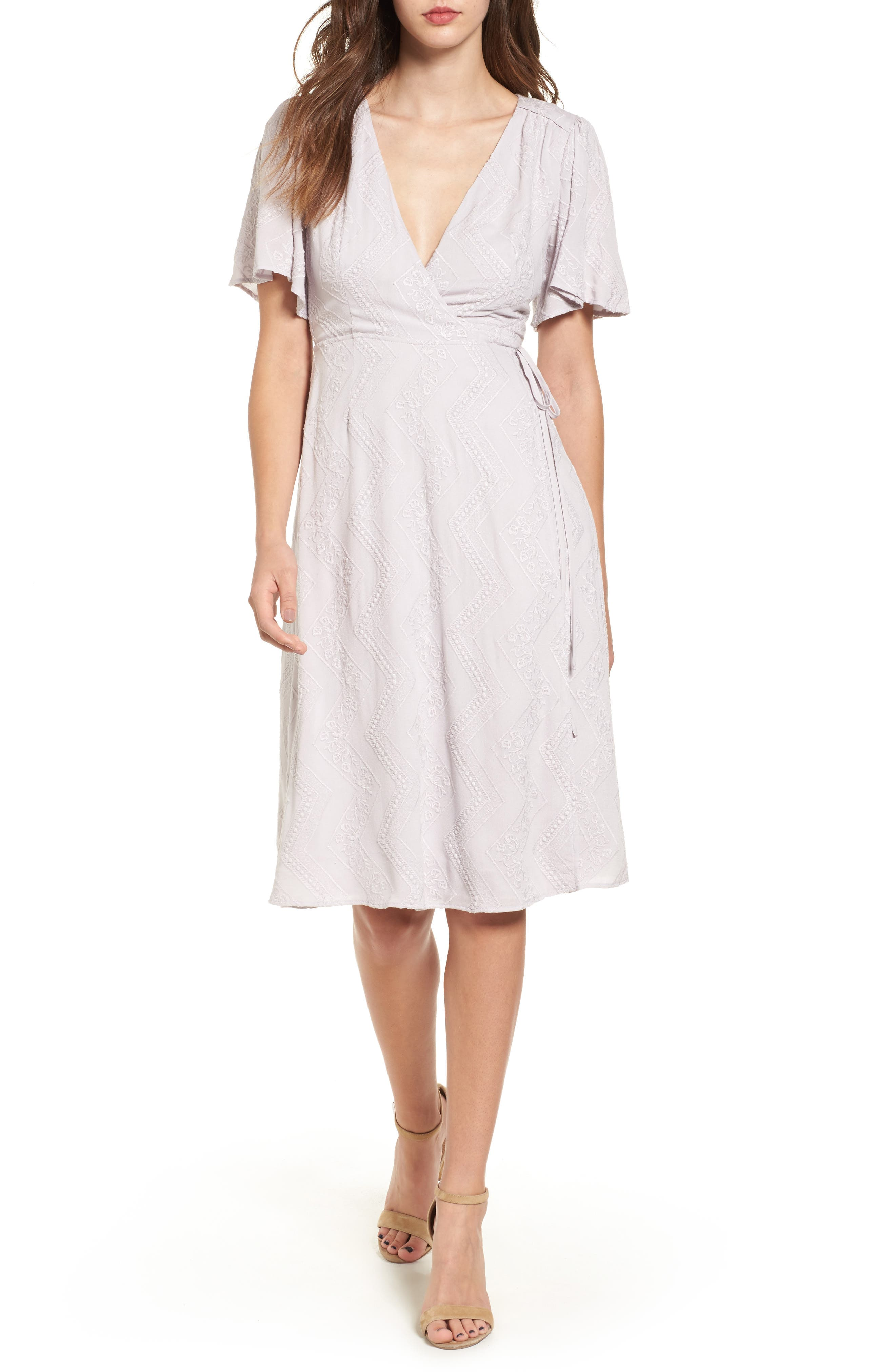 ASTR the Label Embroidered Wrap Dress
