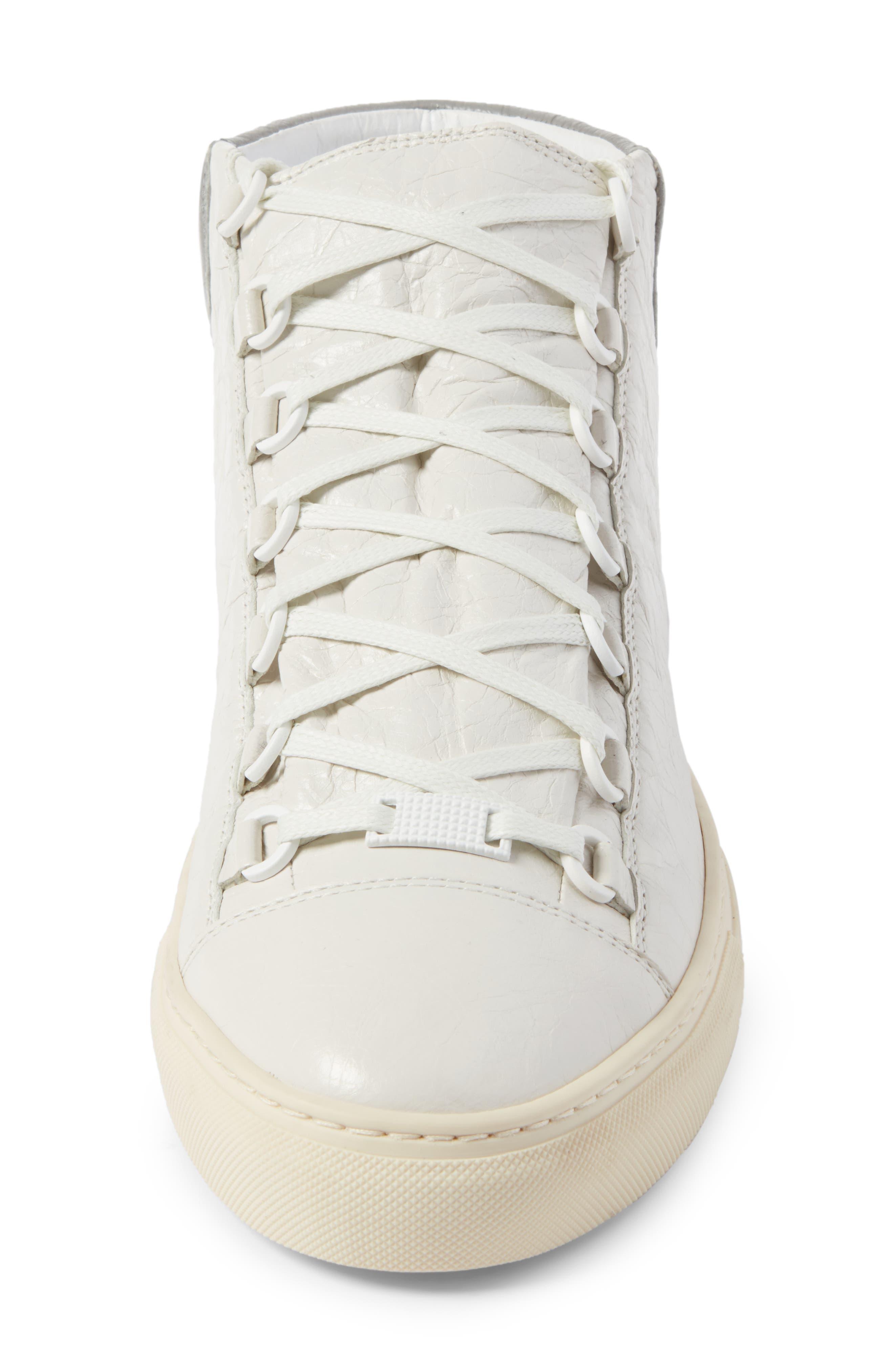 BALENCIAGA Men'S Arena Leather High-Top Sneaker, White