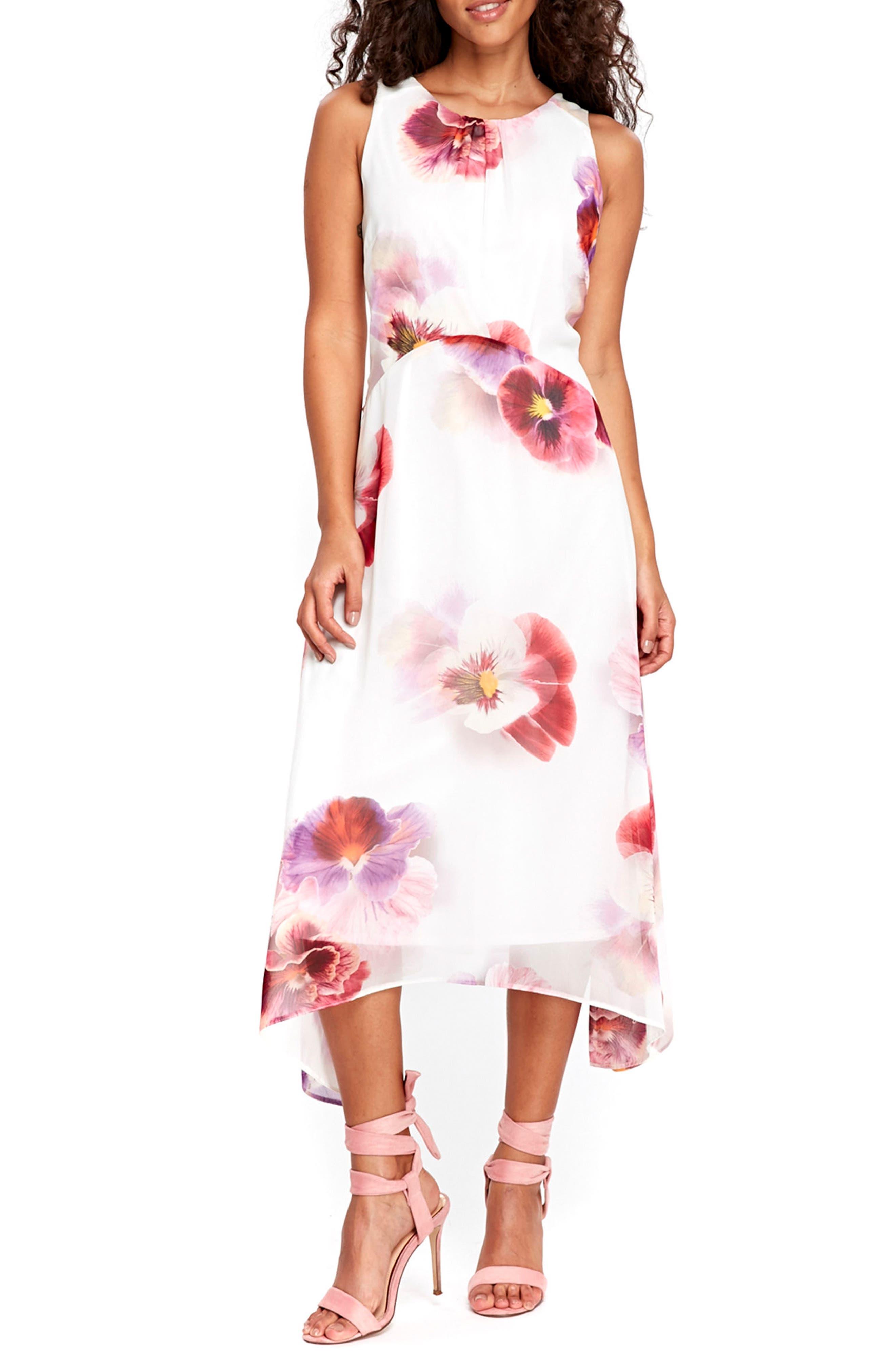 Wallis Pansy Print Handkerchief Hem Dress