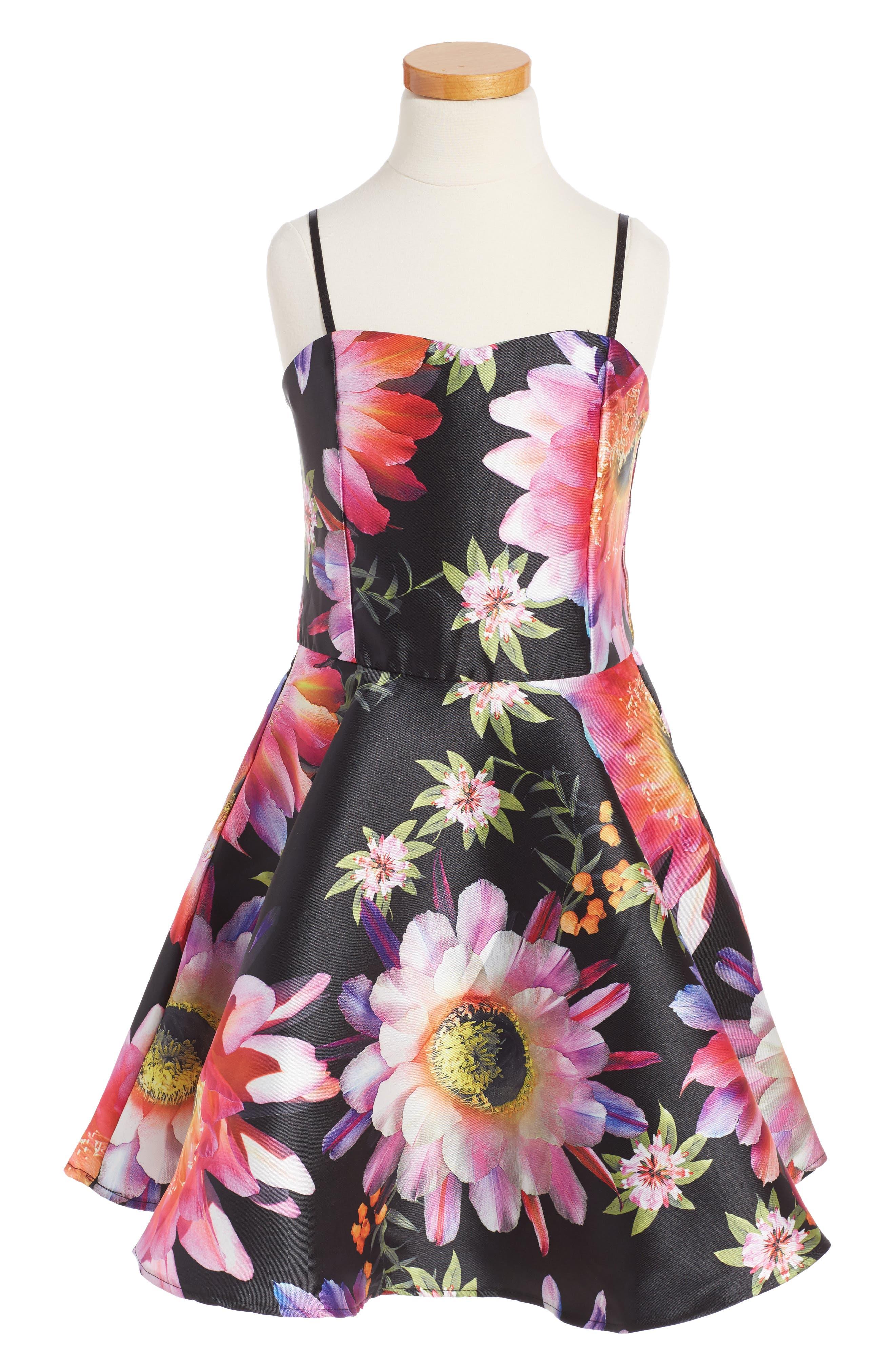 Un Deux Trois Floral Sleeveless Dress (Big Girls)