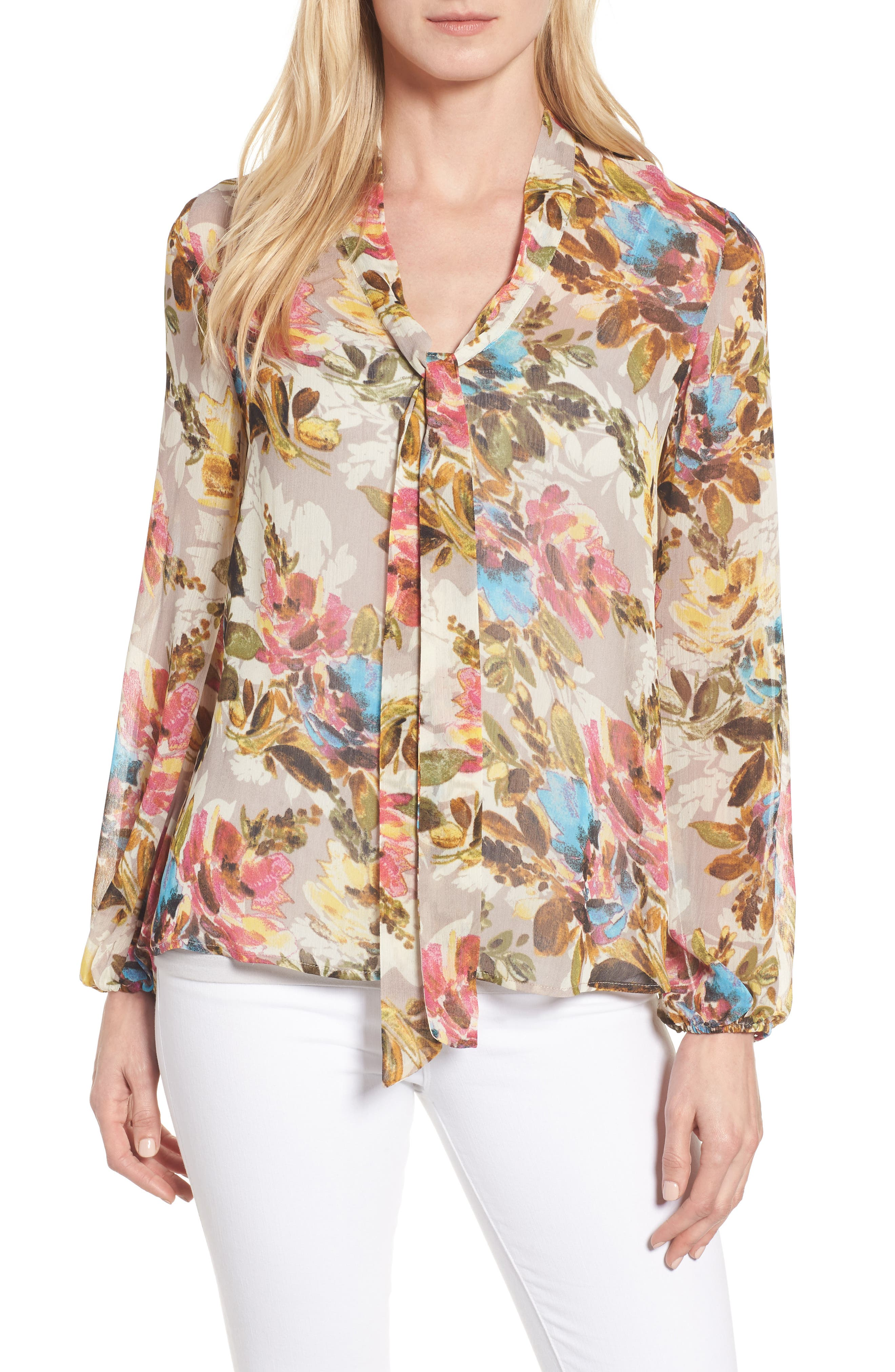 KUT from the Kloth Chie Print Tie Neck Blouse