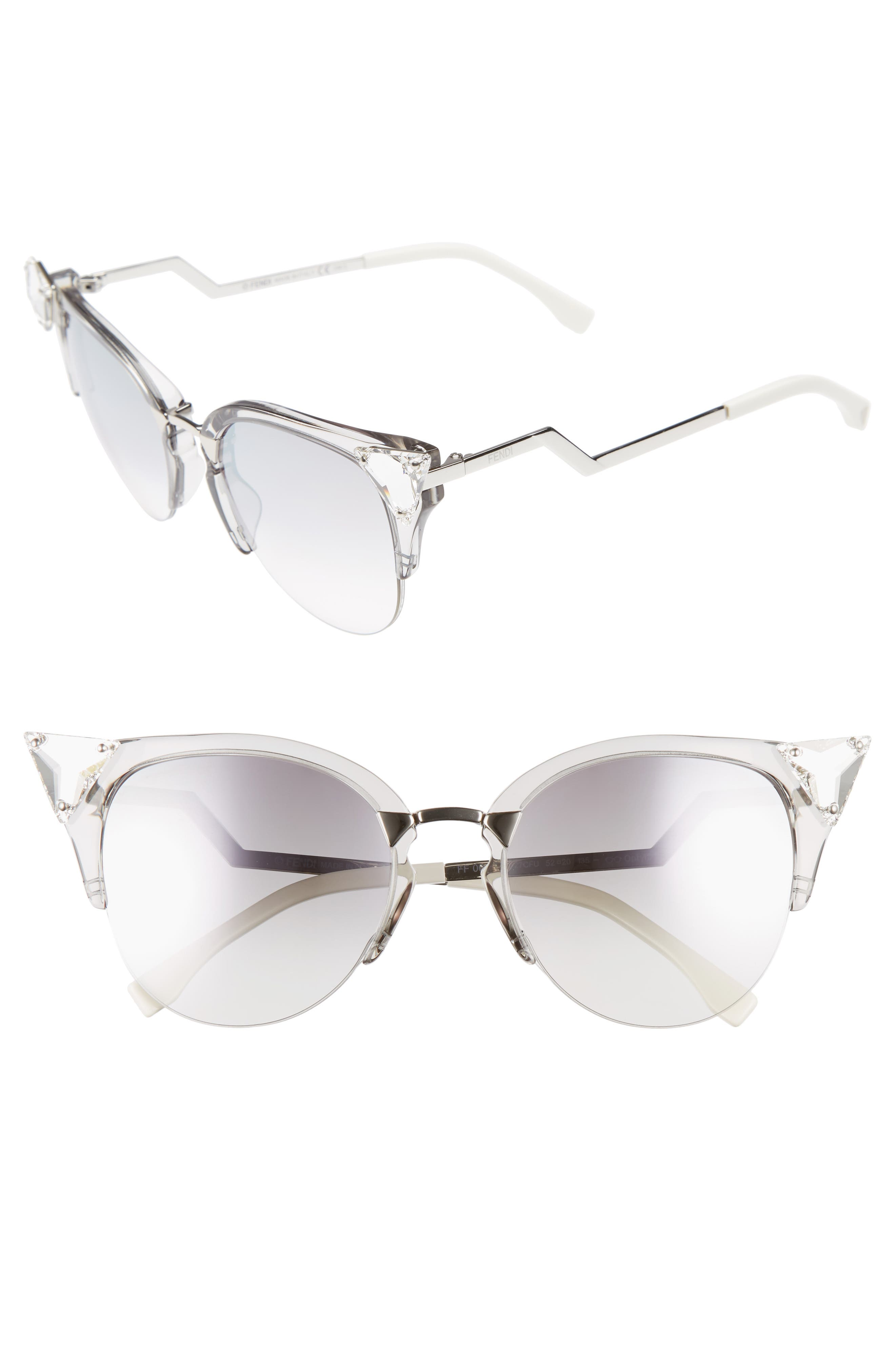 Fendi 52mm Crystal Tip Cat Eye Sunglasses