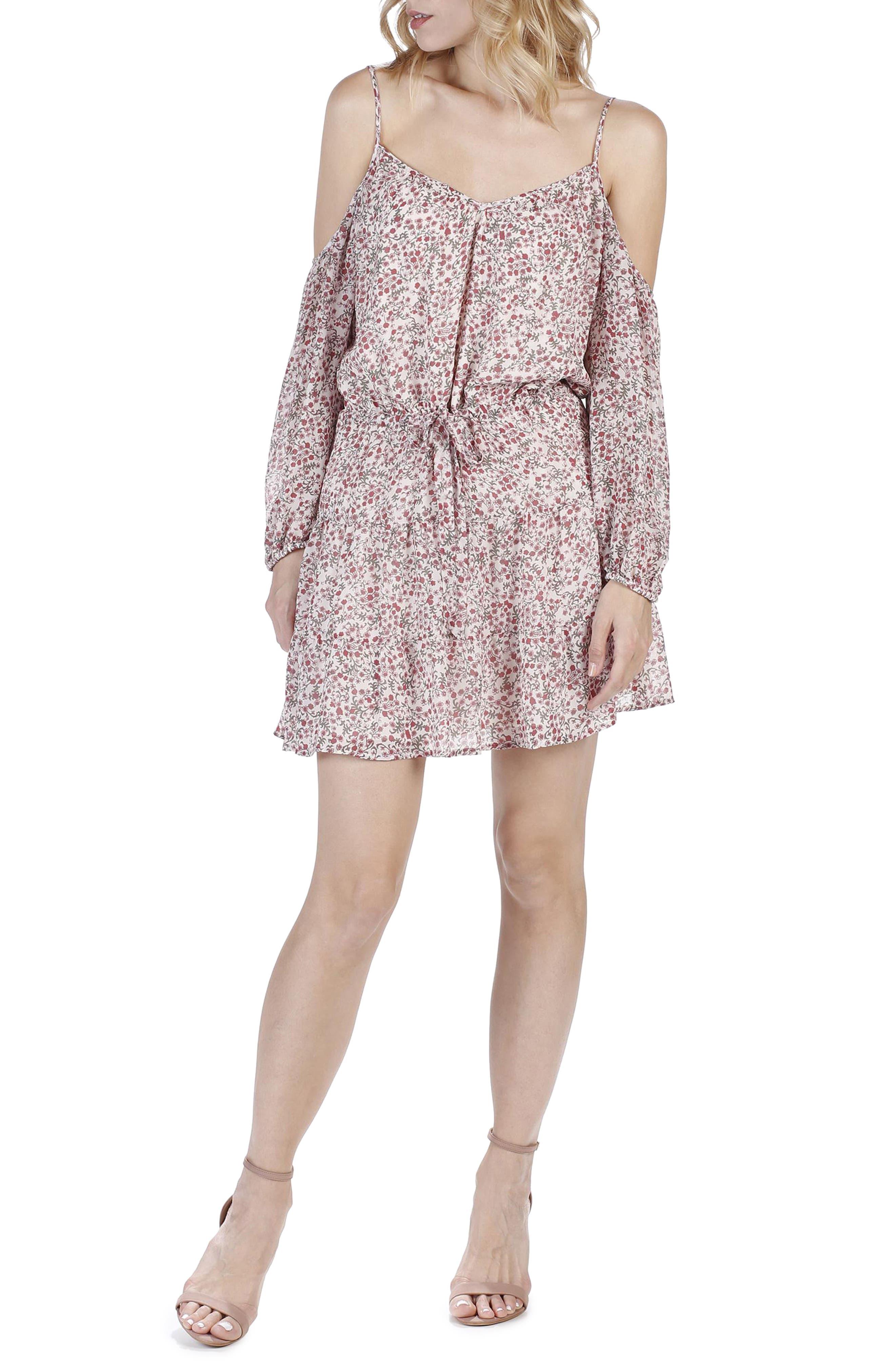 PAIGE Carmine Floral Cold Shoulder Silk Dress