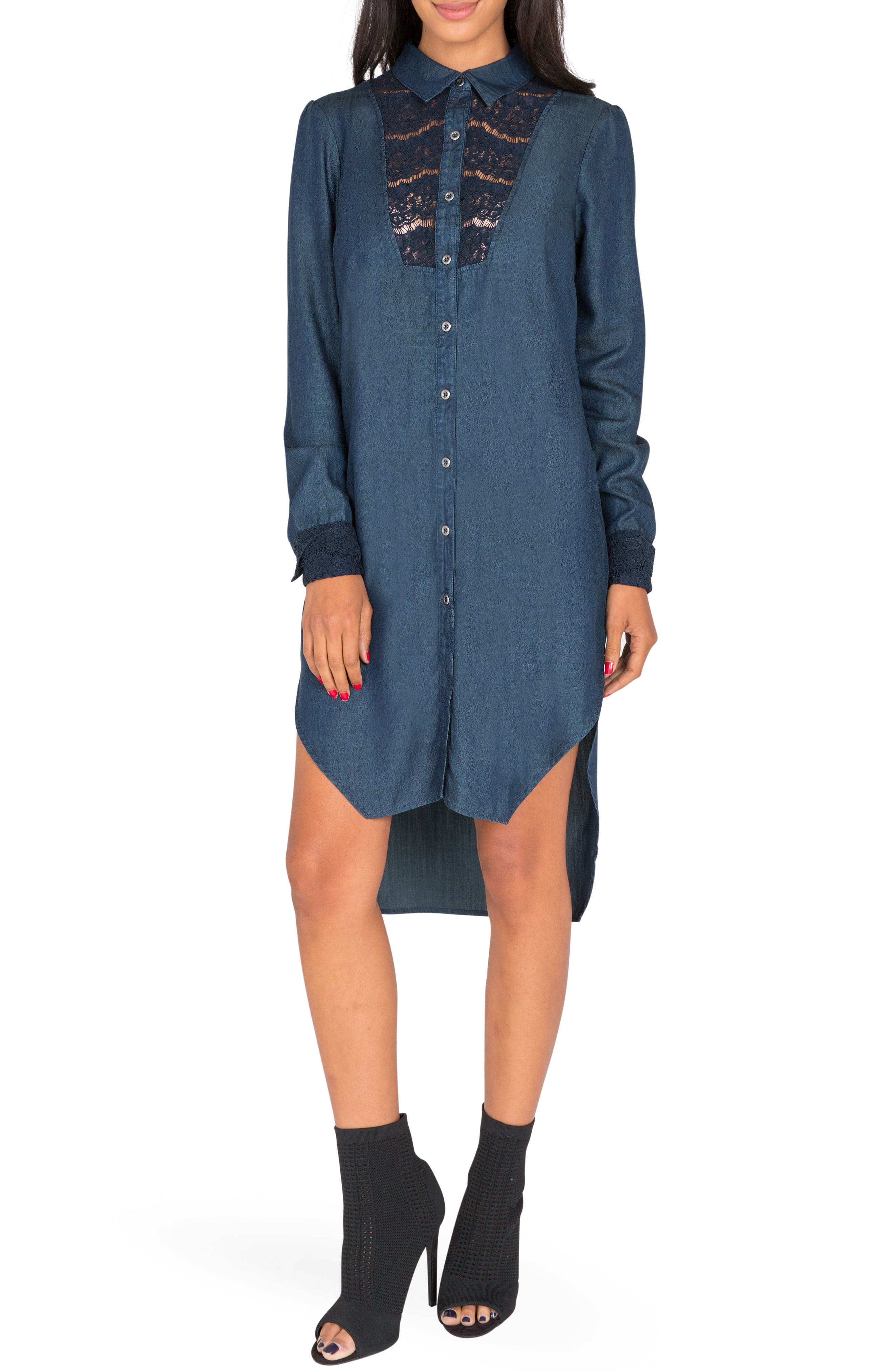 Standards & Practices Felicity Lace Trim Chambray Shirtdress