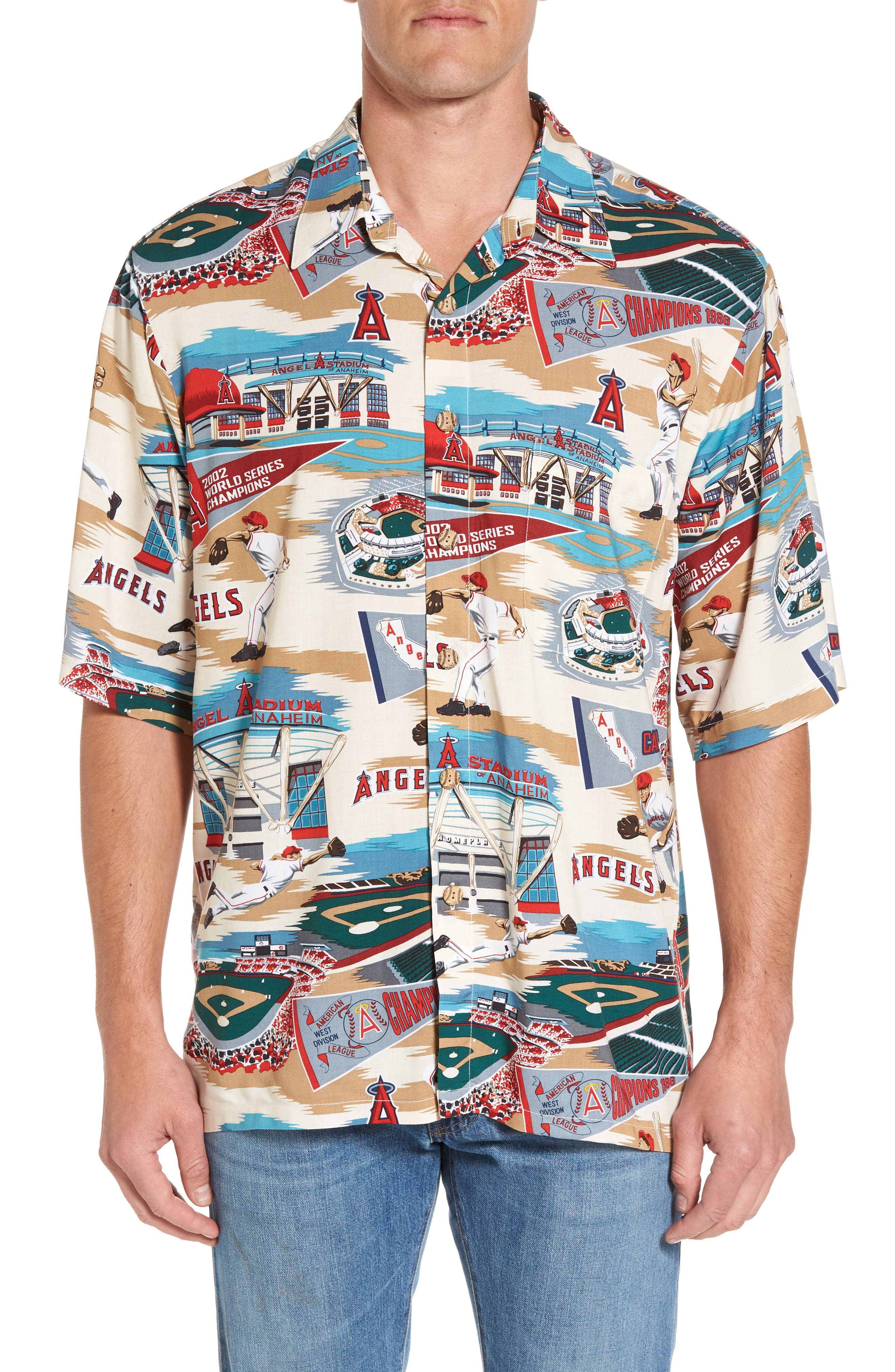 Reyn Spooner Los Angeles Angels of Anaheim Print Camp Shirt