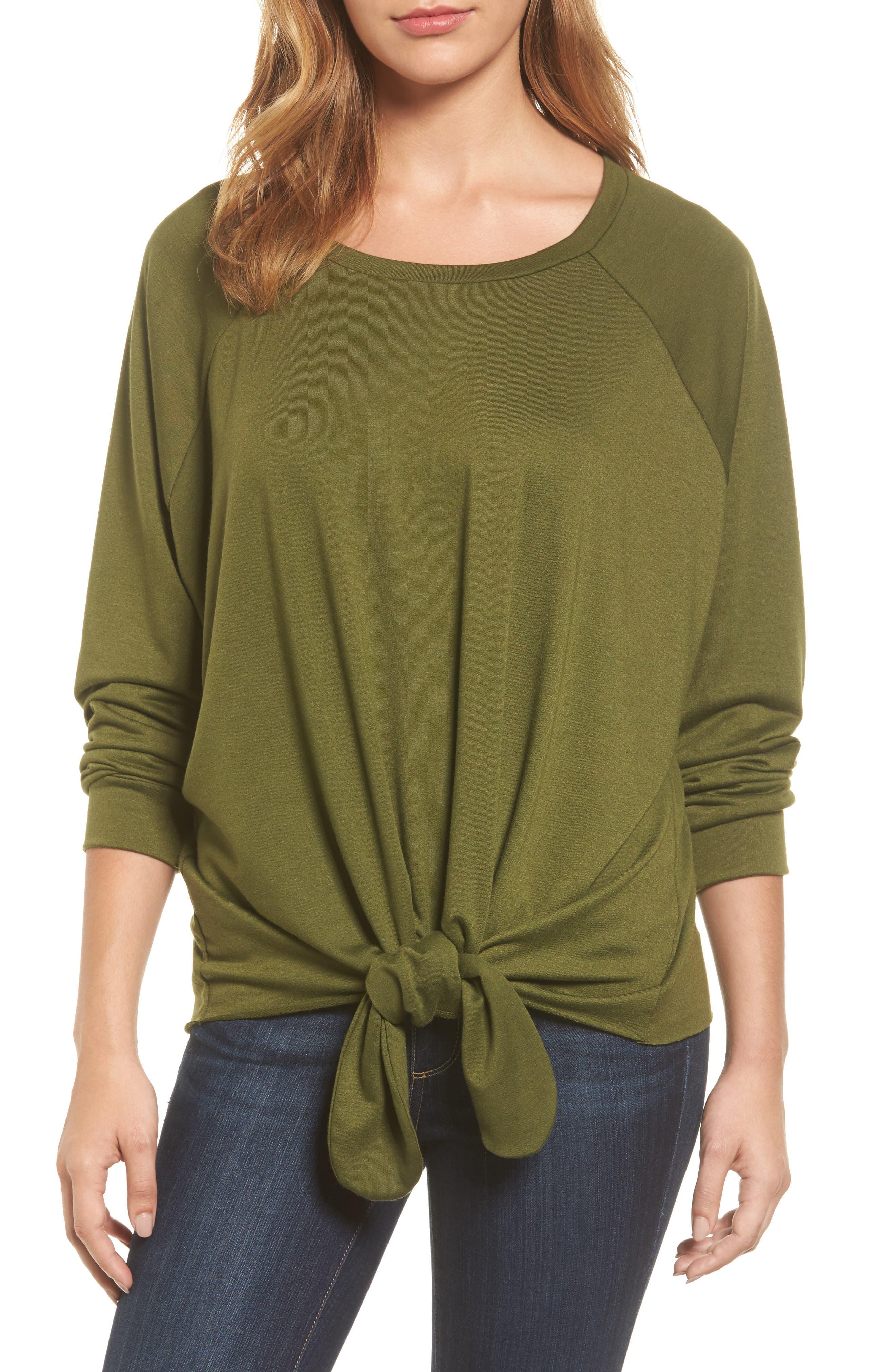 Caslon® Tie Front Sweatshirt (Regular & Petite)