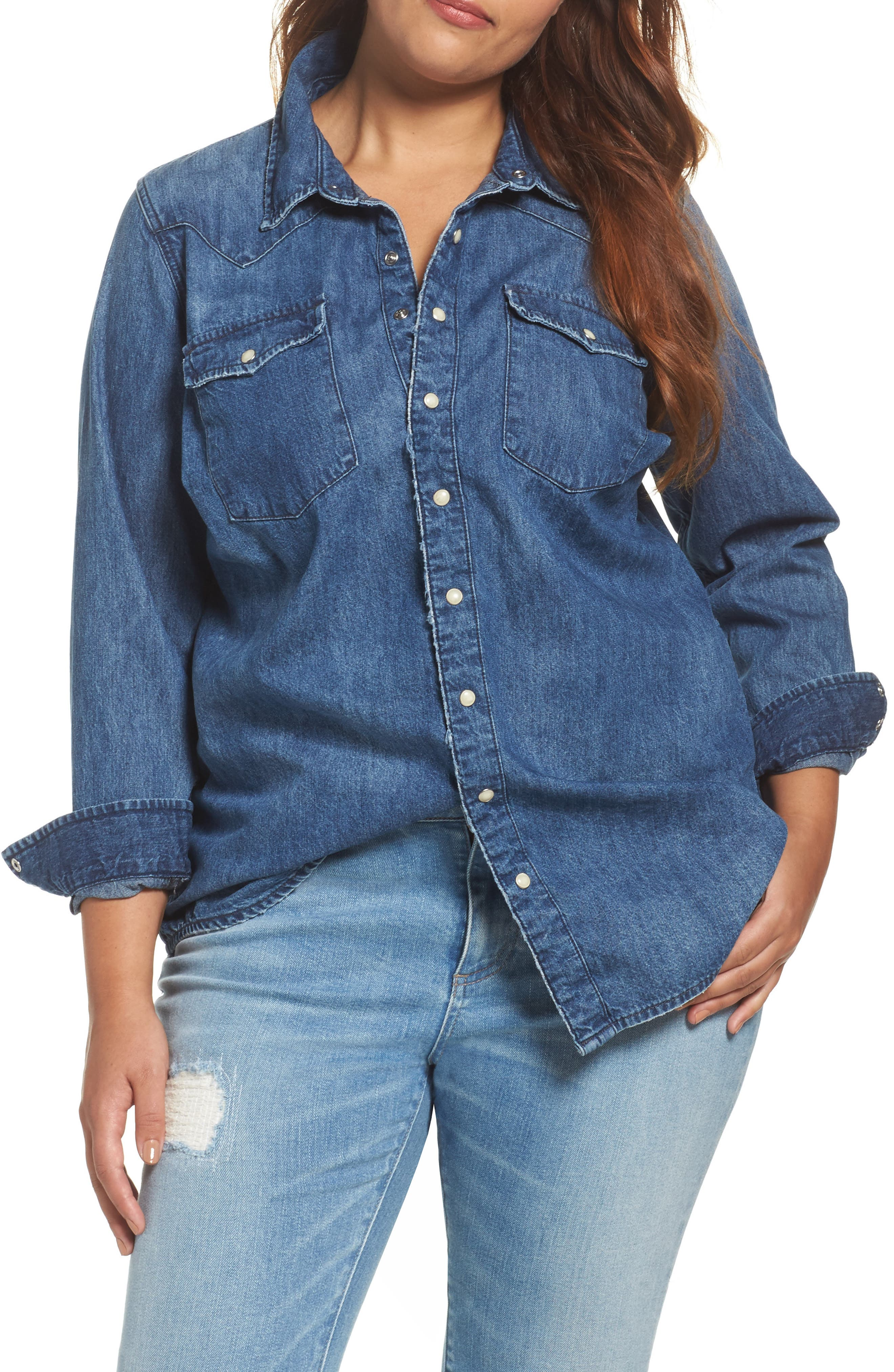 Lucky Brand Classic Western Denim Shirt (Plus Size)