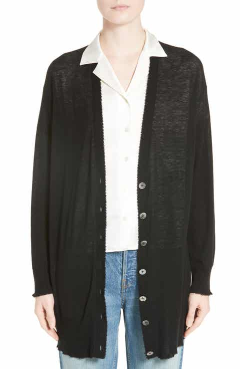 T by Alexander Wang Wool Blend Gauze Long Cardigan