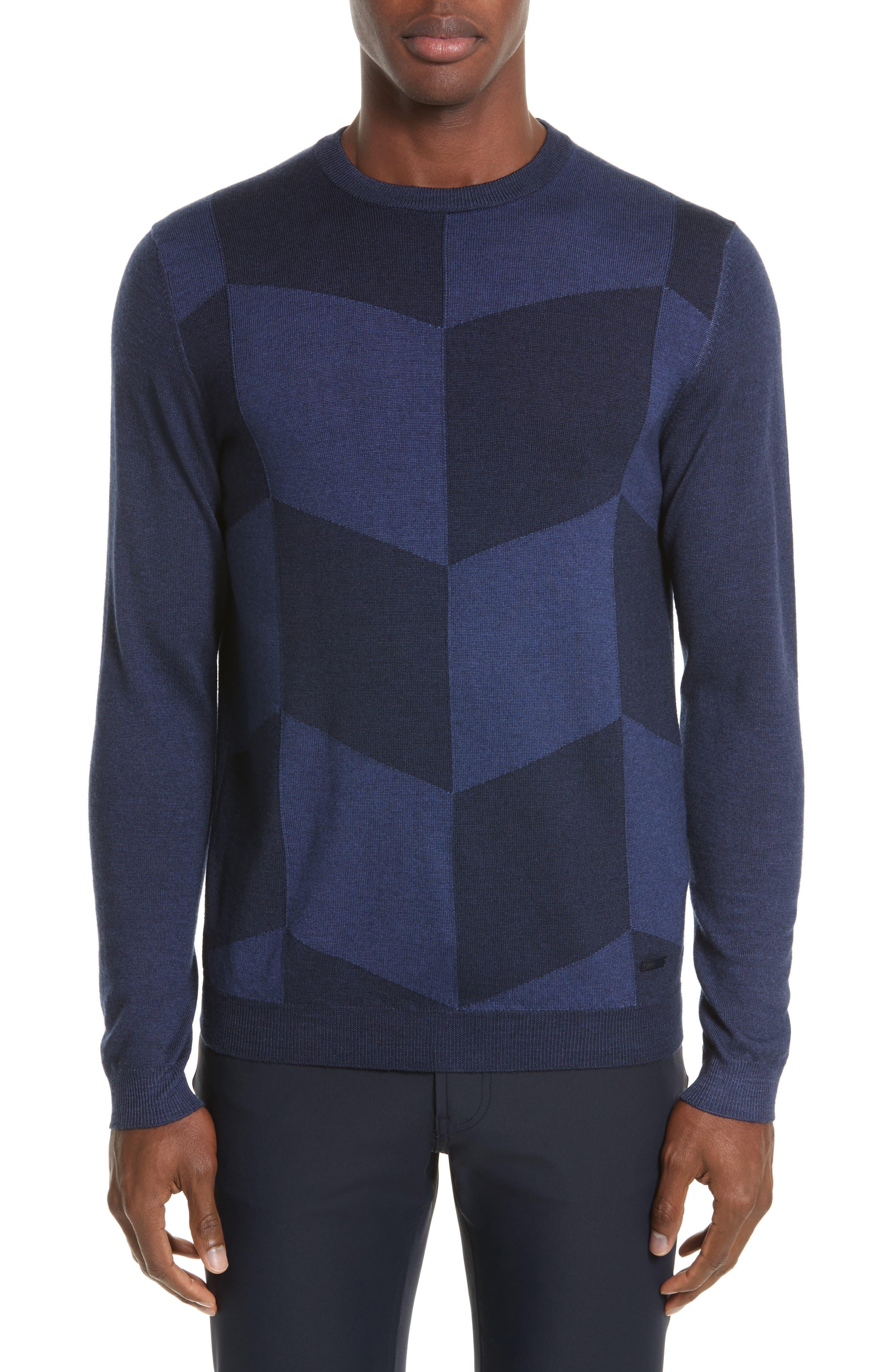 Armani Collezioni Chevron Colorblock Sweater
