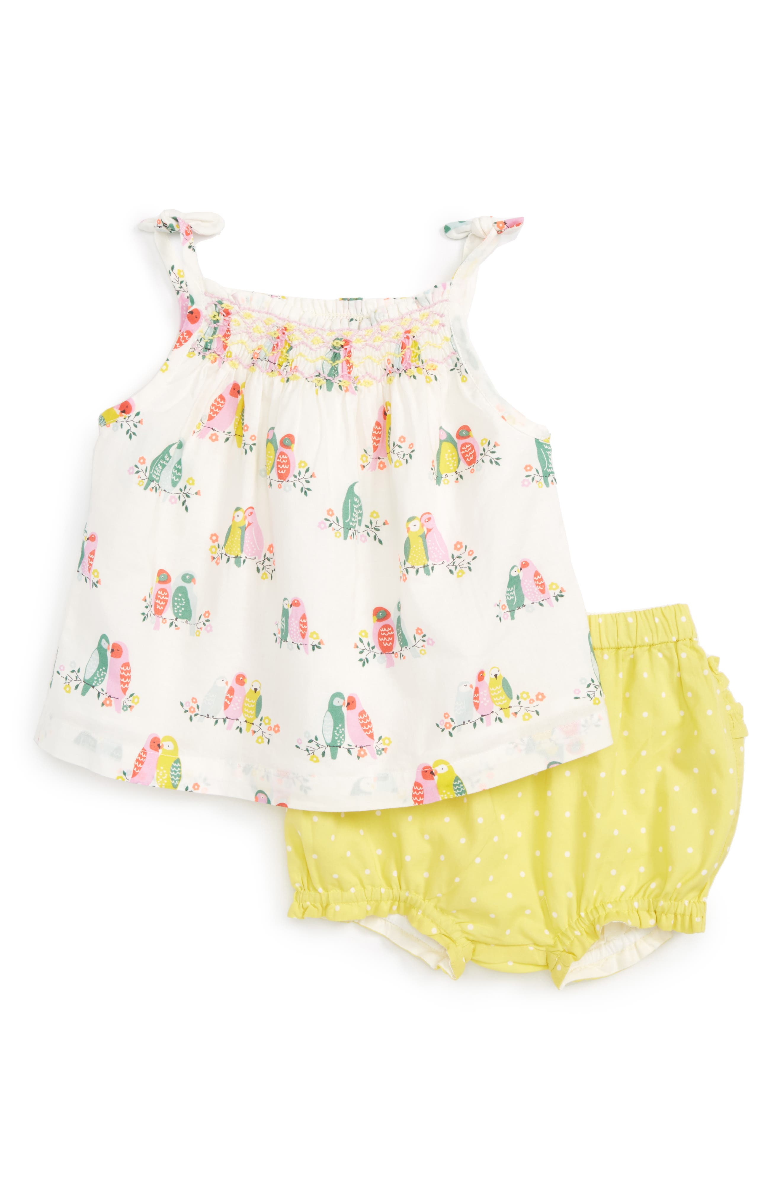 Mini Boden Smocked Tank & Pants Set (Baby Girls)
