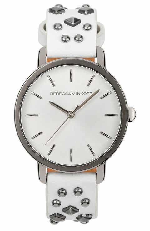 Rebecca Minkoff BFFL Studded Leather Strap Watch, 36mm