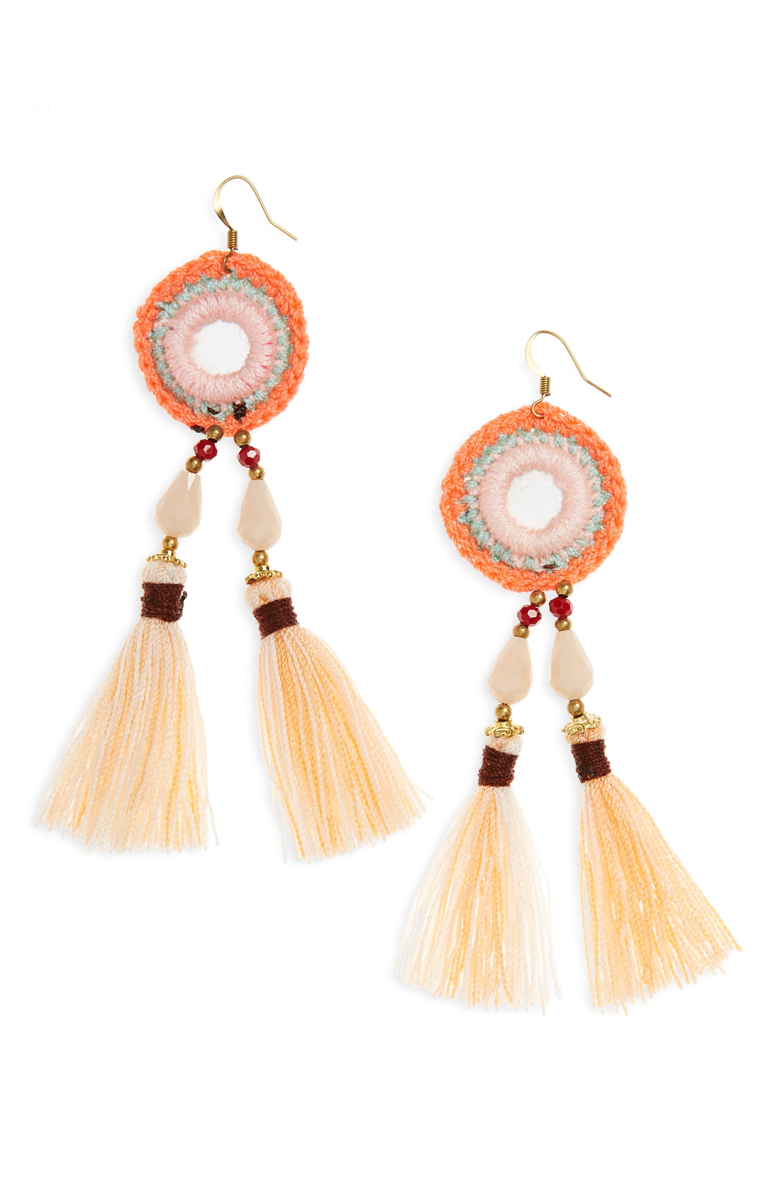 Panacea Crochet Tassel Earrings