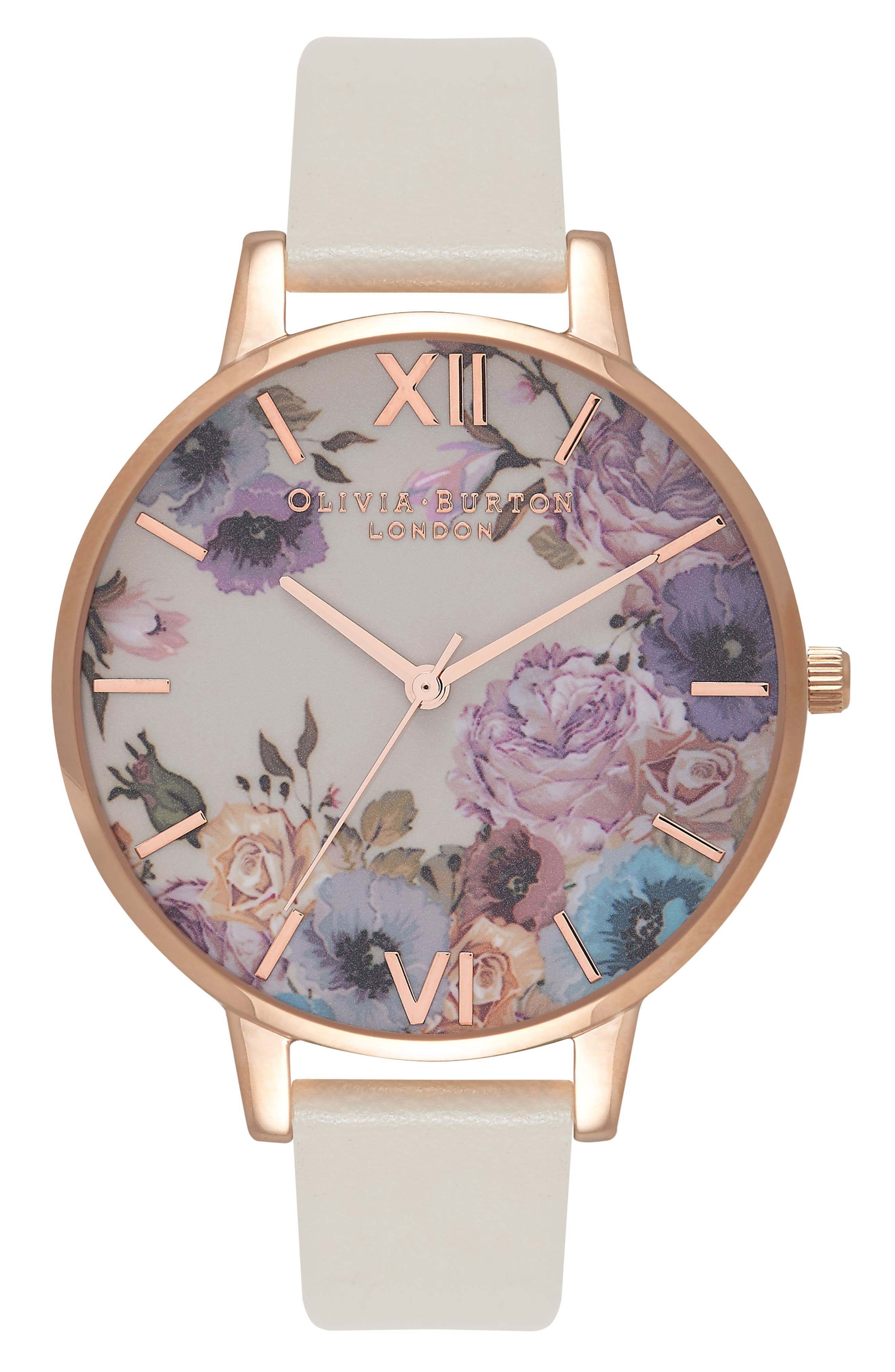 Olivia Burton Enchanted Garden Faux Leather Strap Watch, 38mm