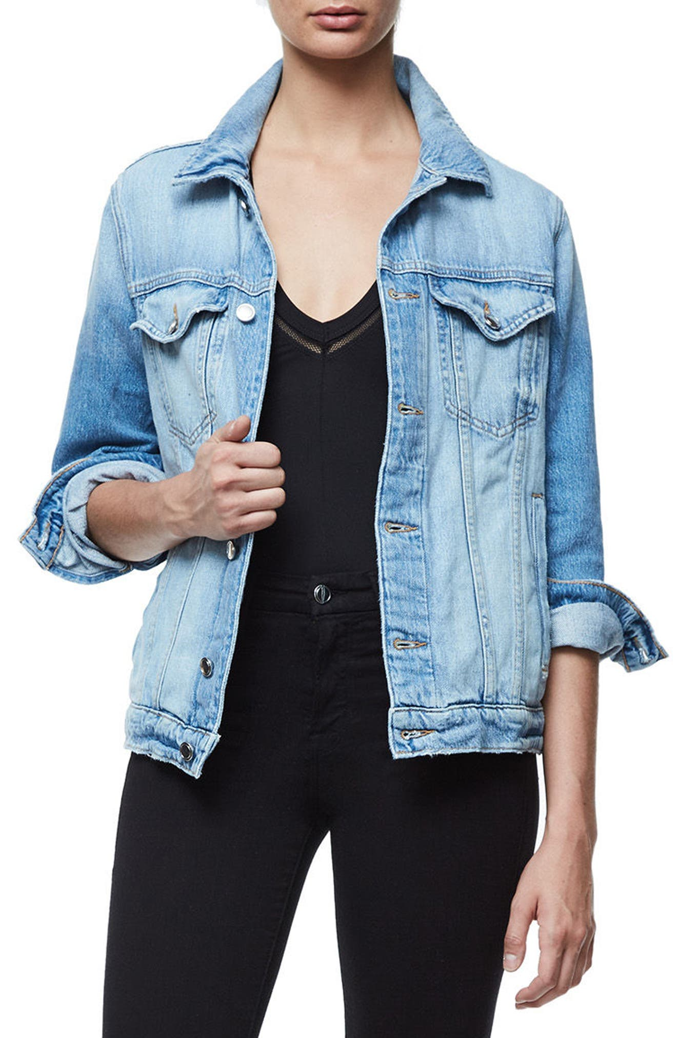 Good American Mesh Letter Denim Jacket (Extended Sizes)