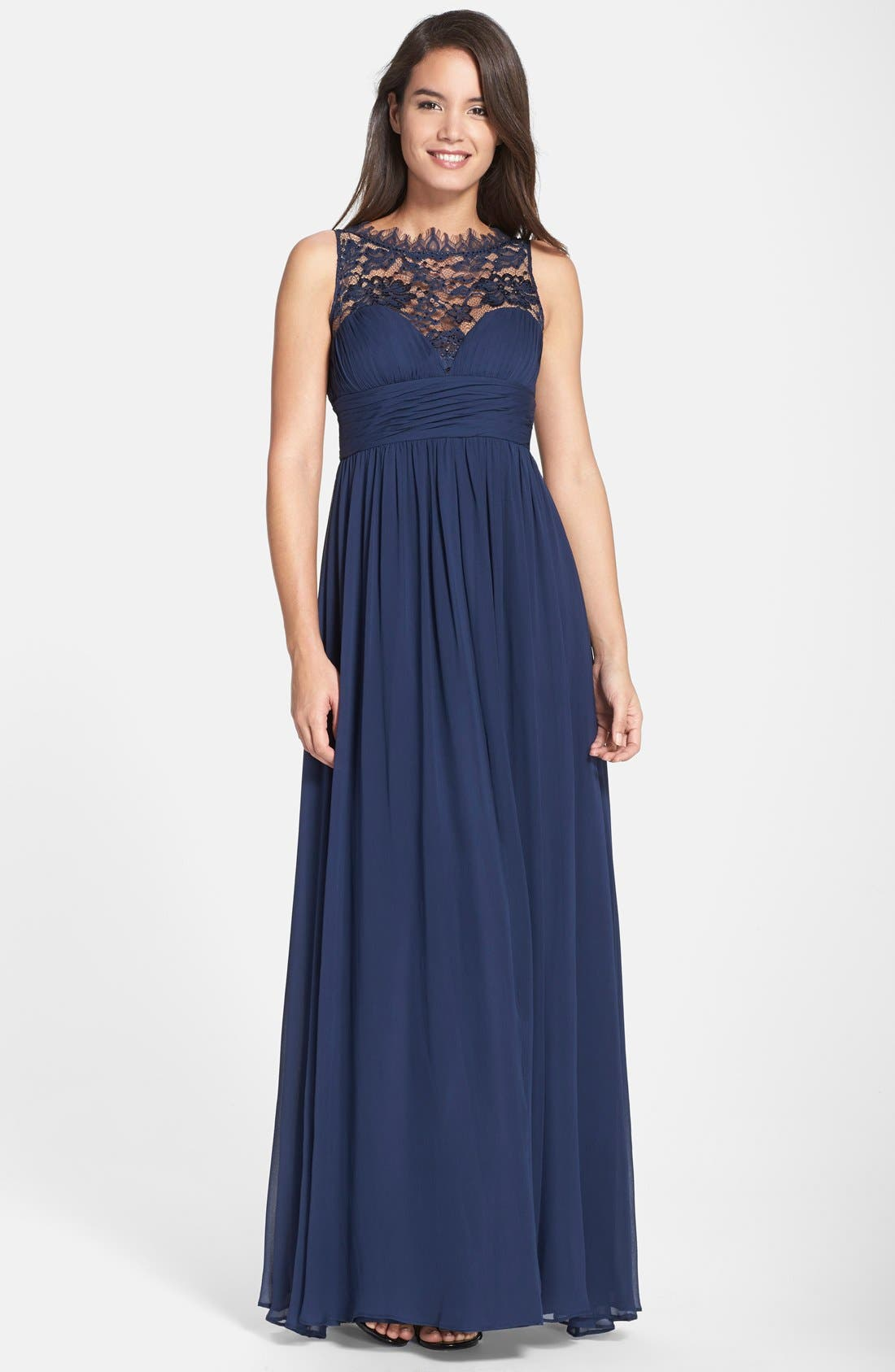 Alternate Image 1  - Aidan Mattox Embellished Lace & Silk Chiffon Gown (Online Only)