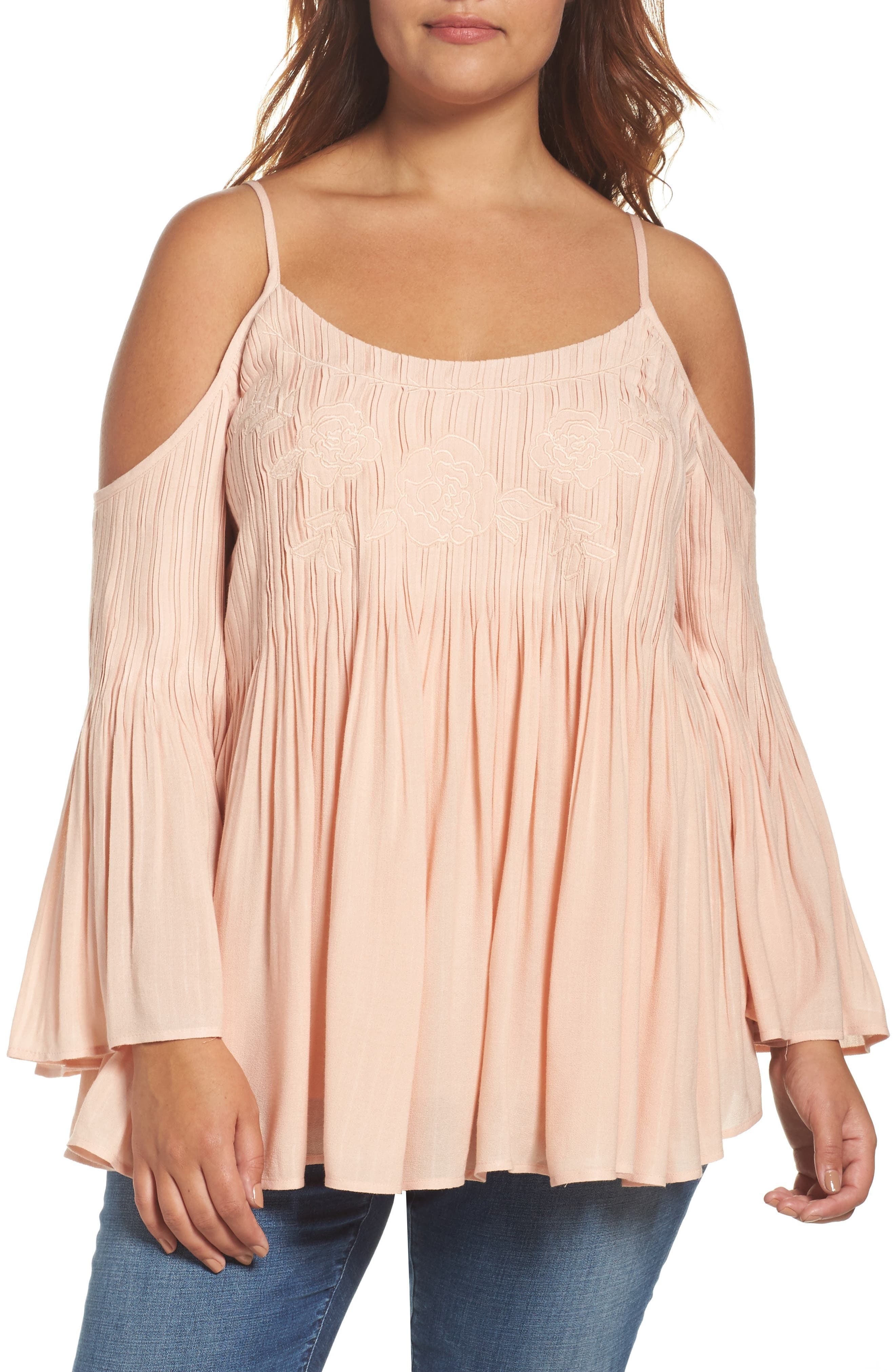 Daniel Rainn Cami Pleat Off the Shoulder Top (Plus Size)