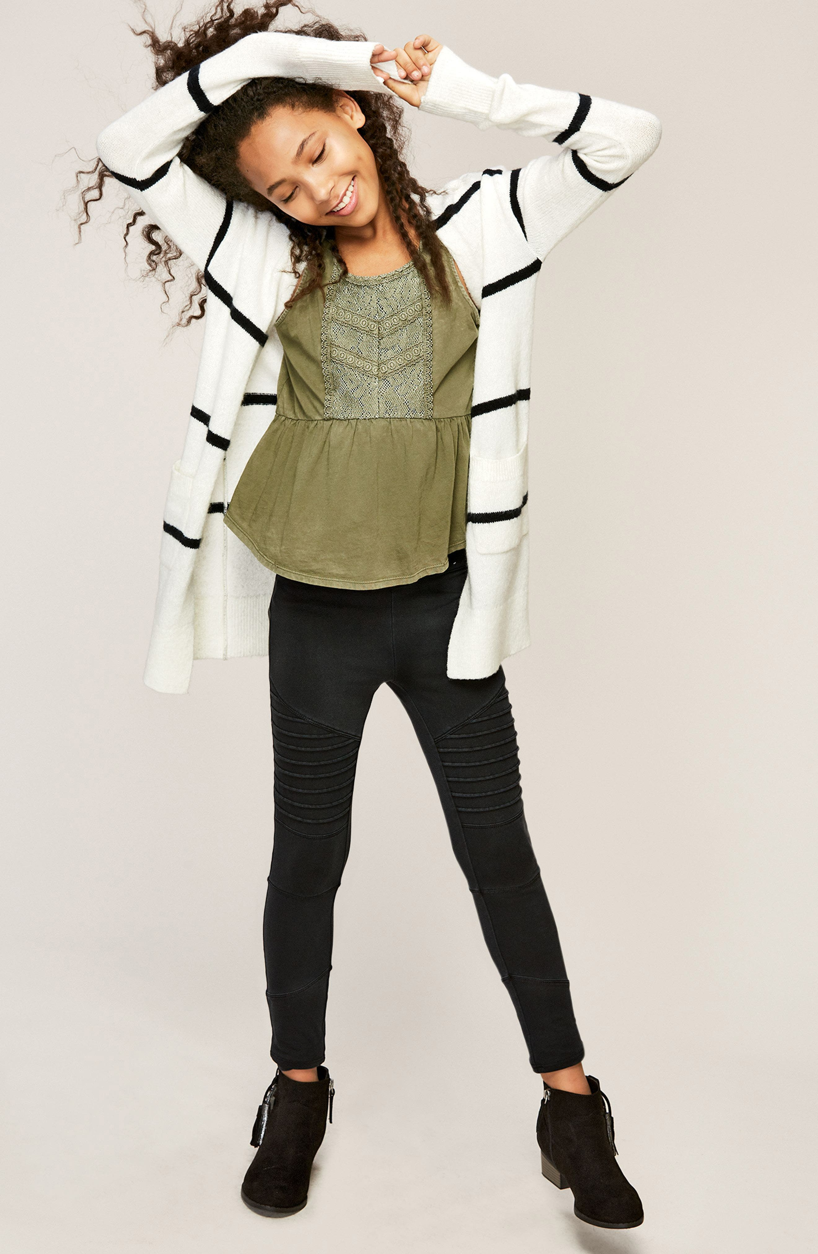 Tucker + Tate Cardigan, Tank & Pants Outfit with Accessories (Big Girls)