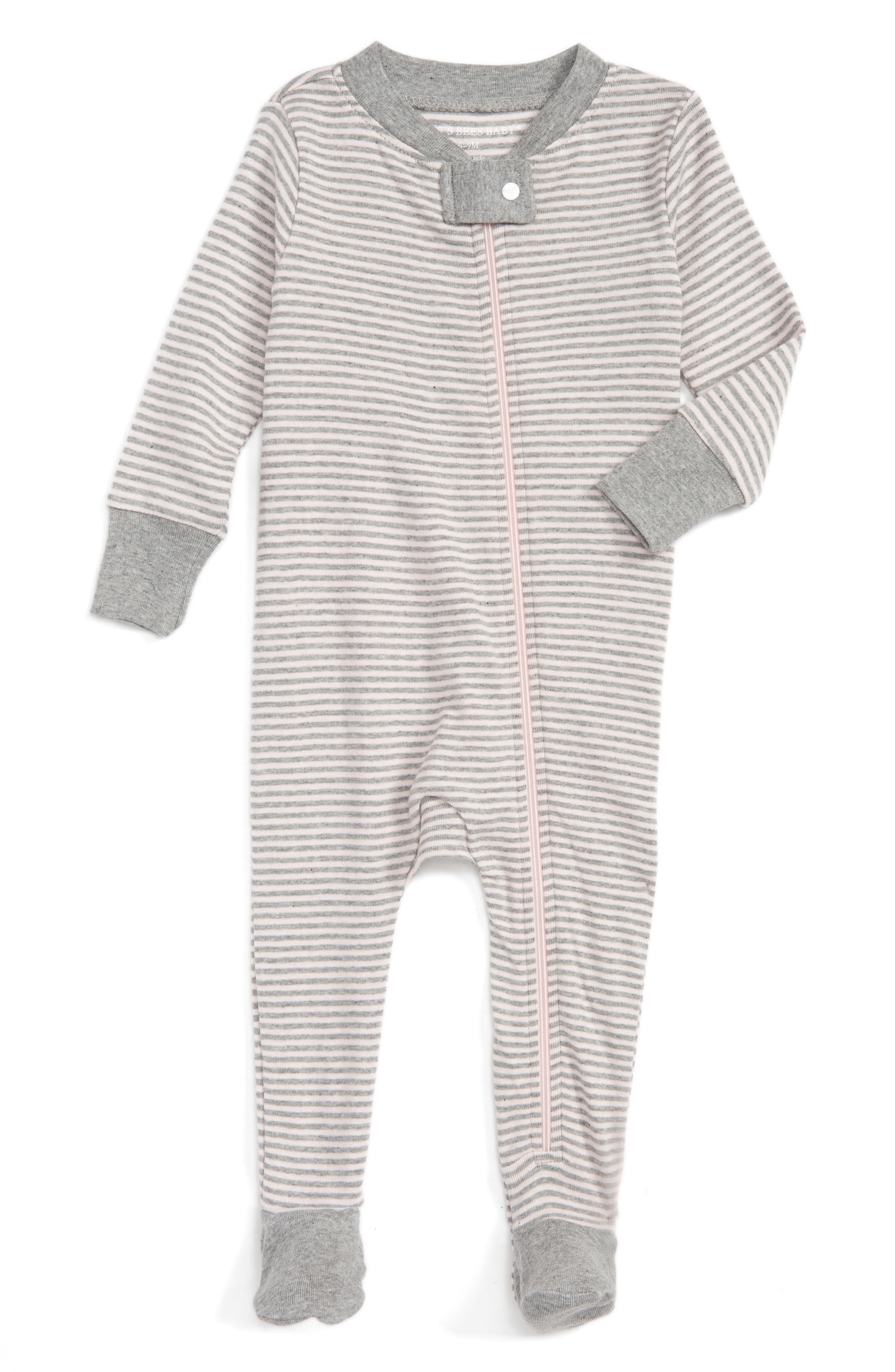 Burt's Bees Baby Stripe Fitted One-Piece Footed Pajamas (Baby Girls)