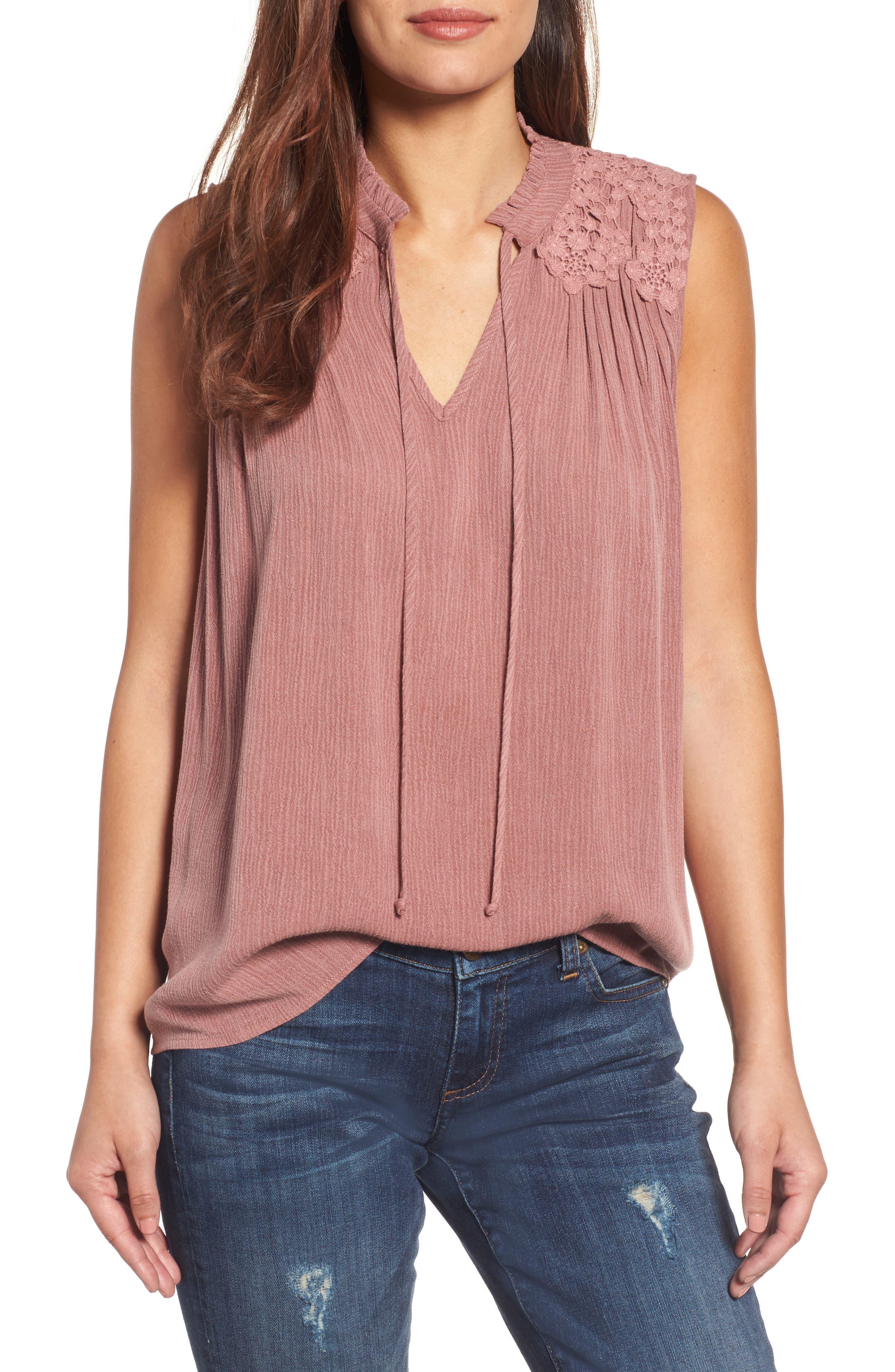 Caslon® Lace Appliqué Top (Regular & Petite)