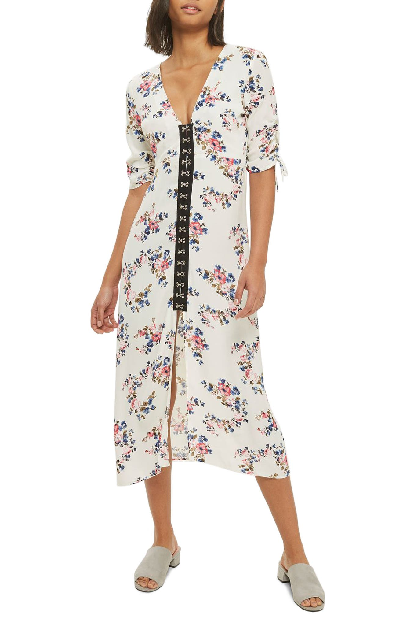 Topshop Hook Front Floral Midi Dress